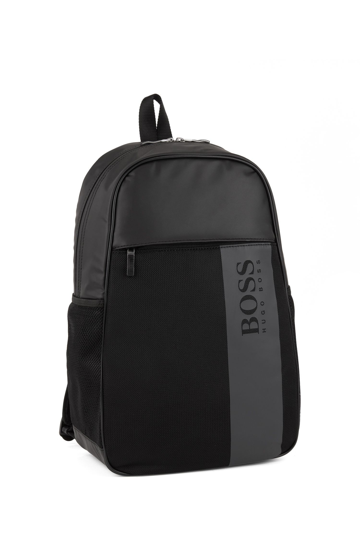 Backpack in coated nylon with mesh trim