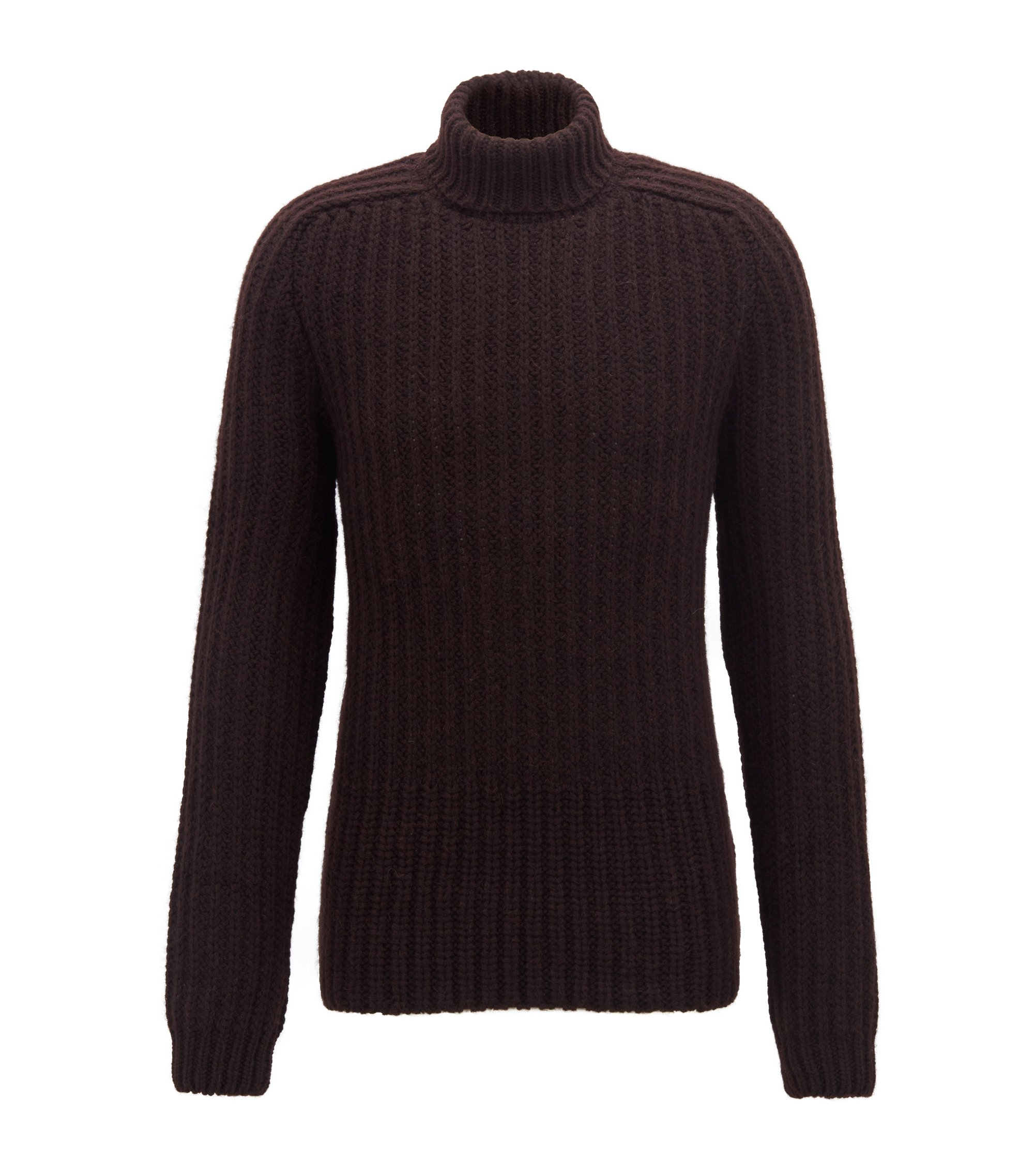 Fashion Show Capsule turtleneck sweater in chunky knit structures, Brown
