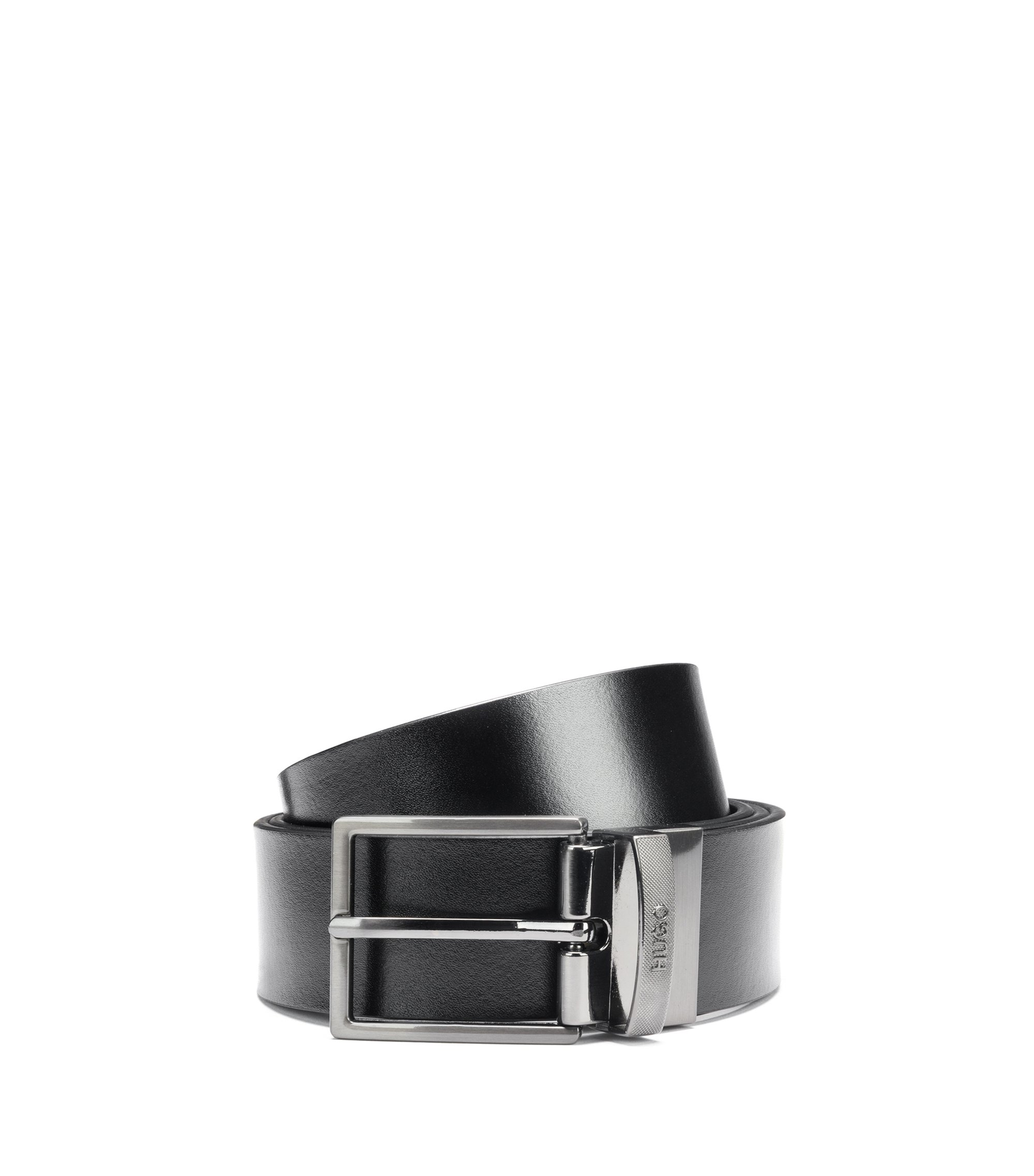 Reversible leather belt with textured metal pin and plaque buckles, Black