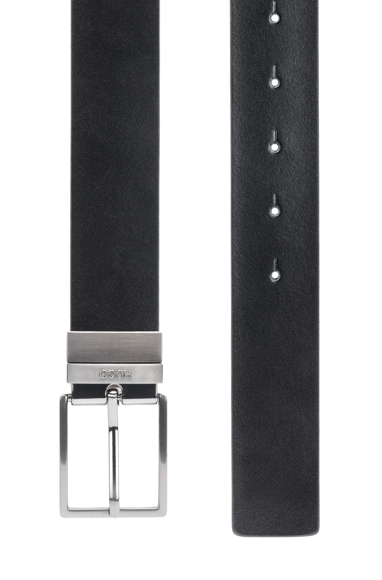 Reversible leather belt with textured metal pin and plaque buckles