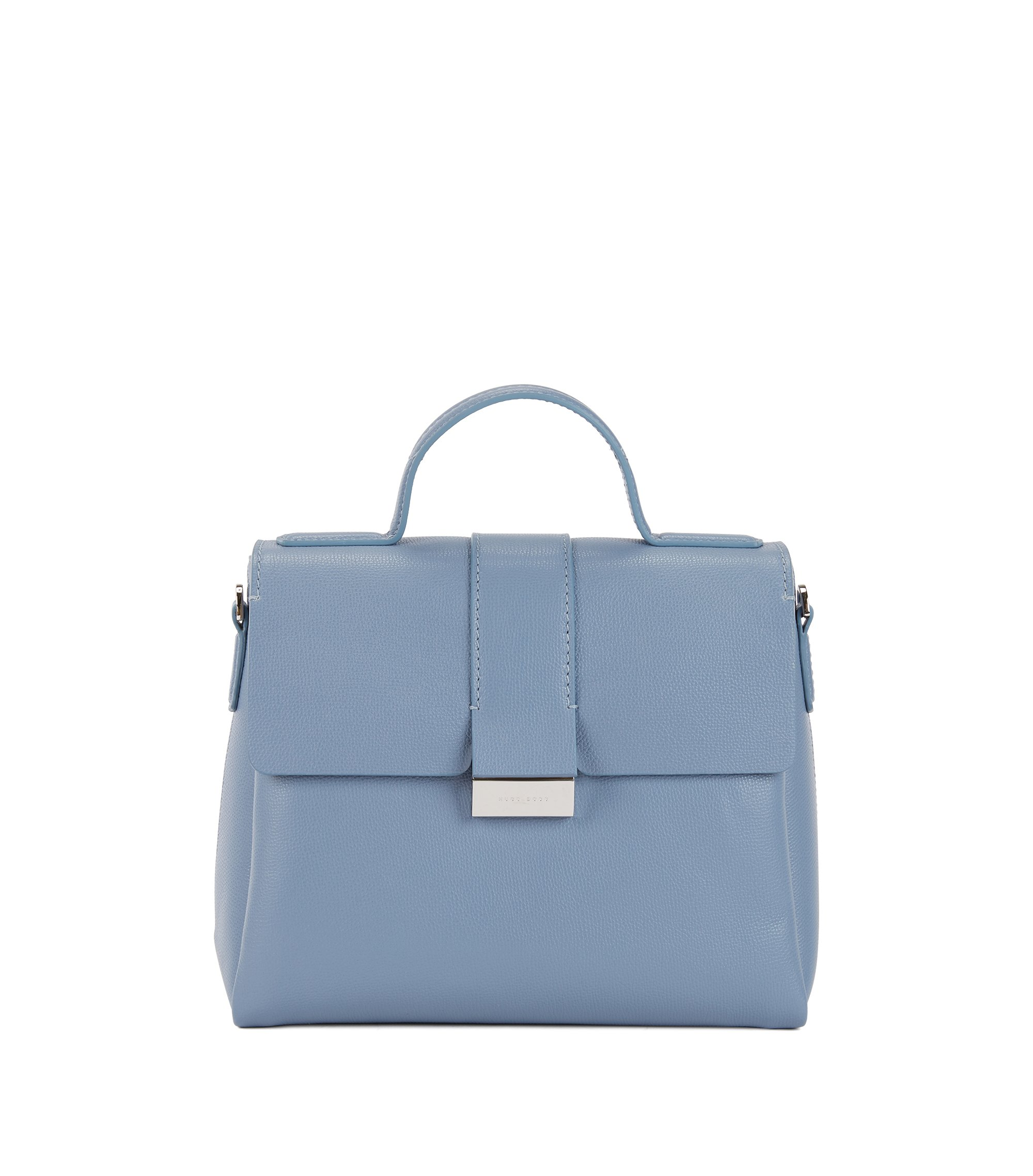 Handtasche aus genarbtem italienischem Leder mit Griff, Hellblau