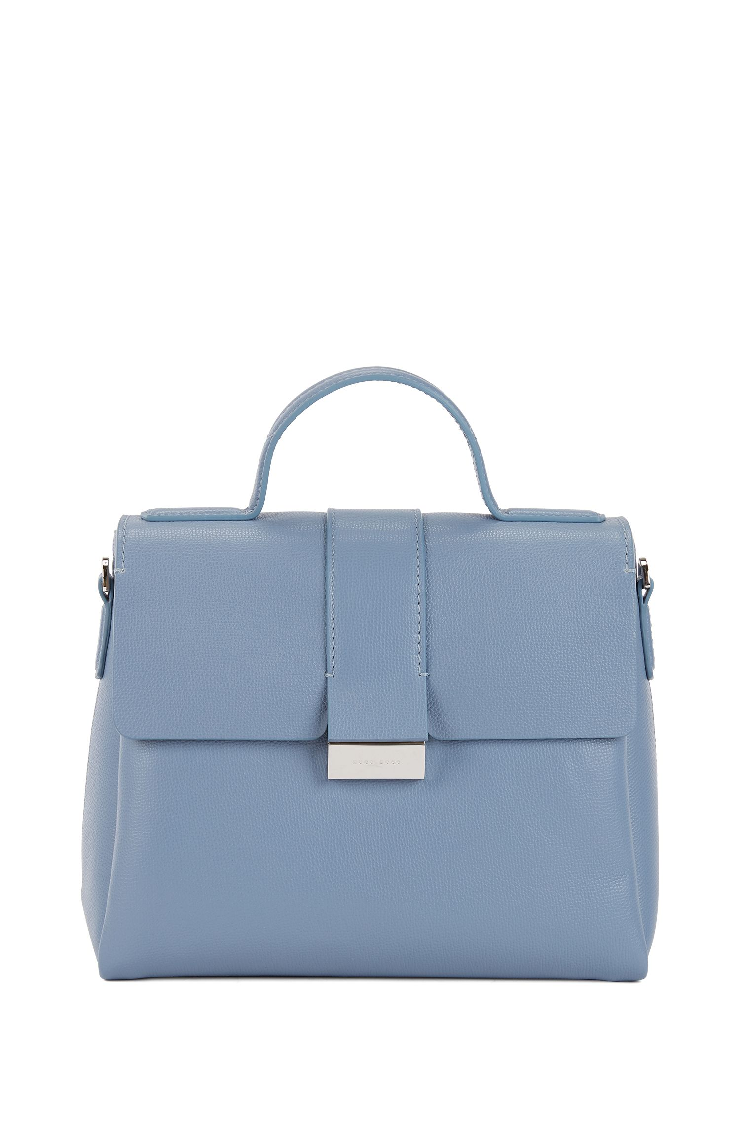 Top-handle bag in grainy Italian leather, Light Blue