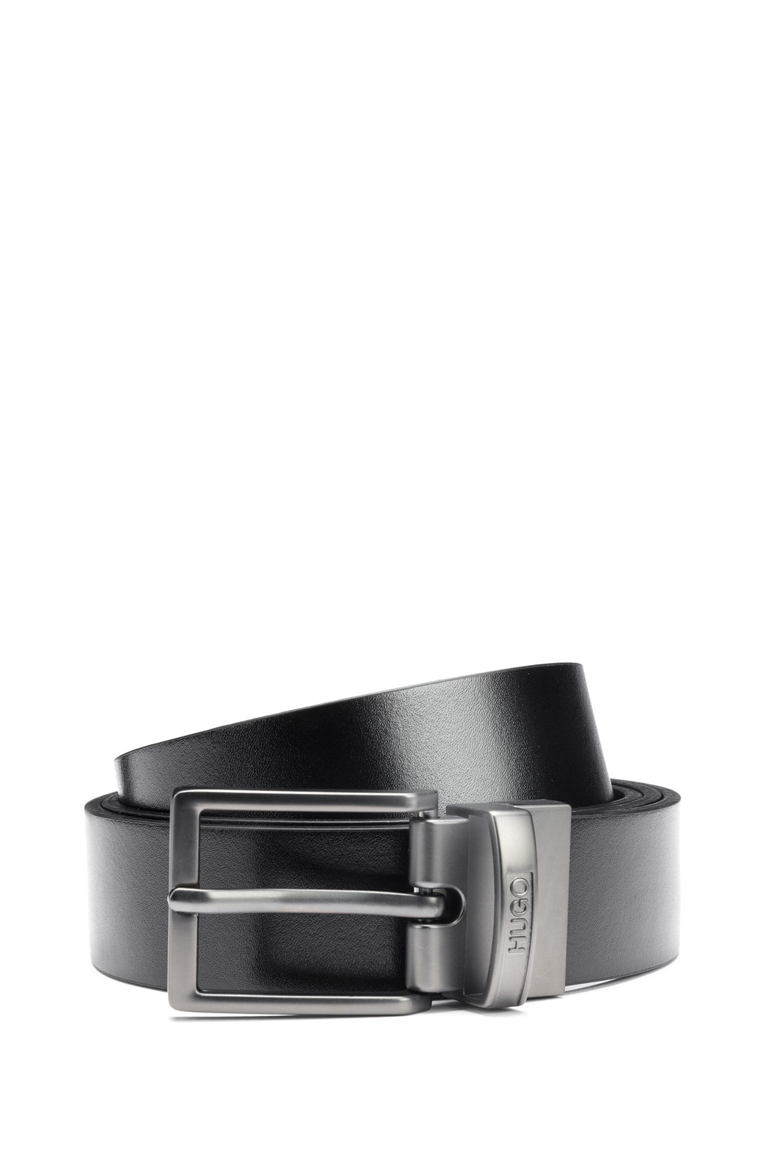 Reversible leather belt with two matt-gunmetal buckles, Black
