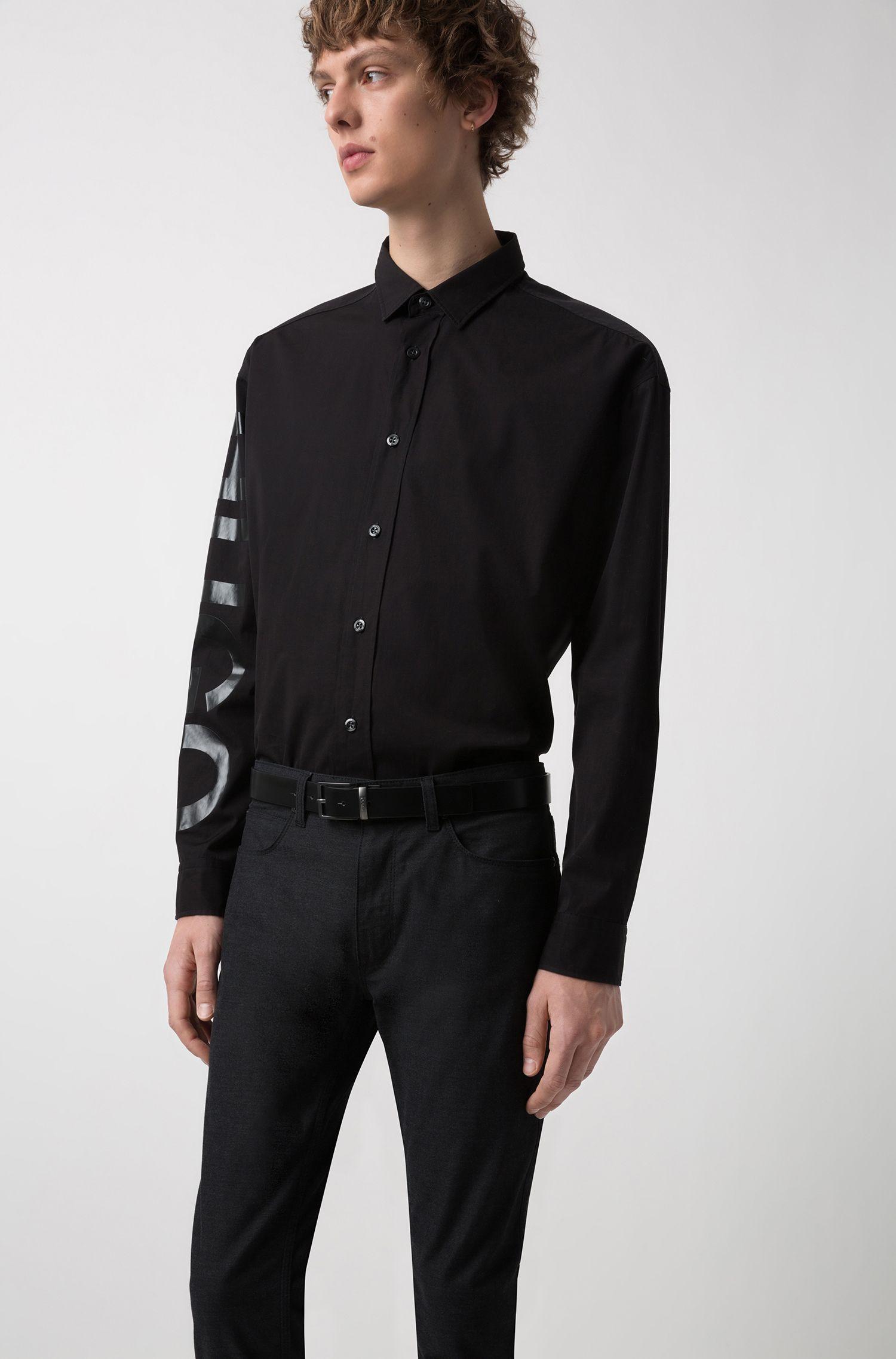 Cinturón reversible de piel con 2hebillas de metal pesado mate, Negro