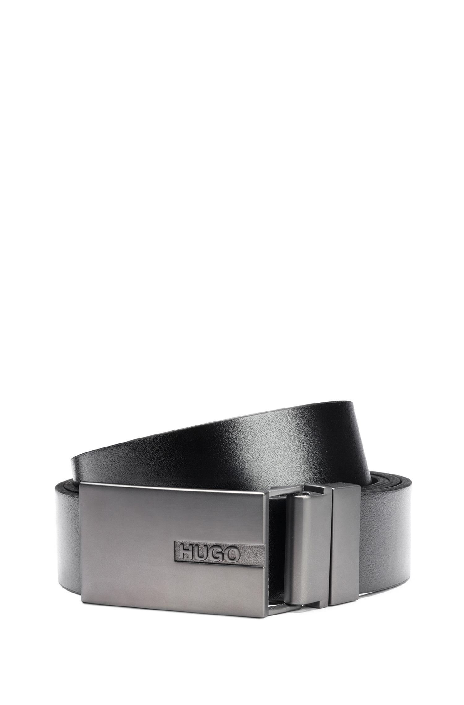 Wendegürtel aus Leder mit zwei matten Metall-Schließen, Schwarz