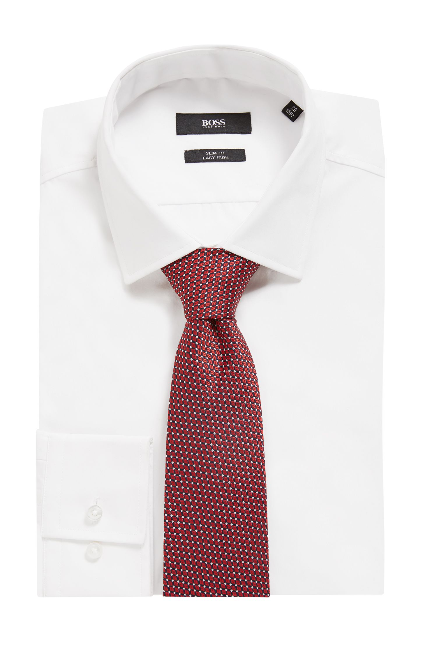 Italian-made tie in micro-patterned silk jacquard, Dark Red