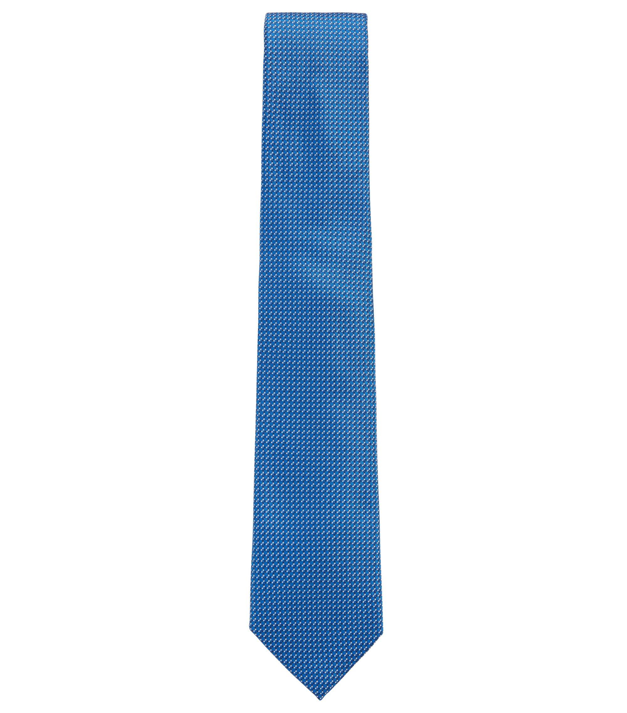 In Italië vervaardigde stropdas in een jacquard van zijde met dessin, Blauw