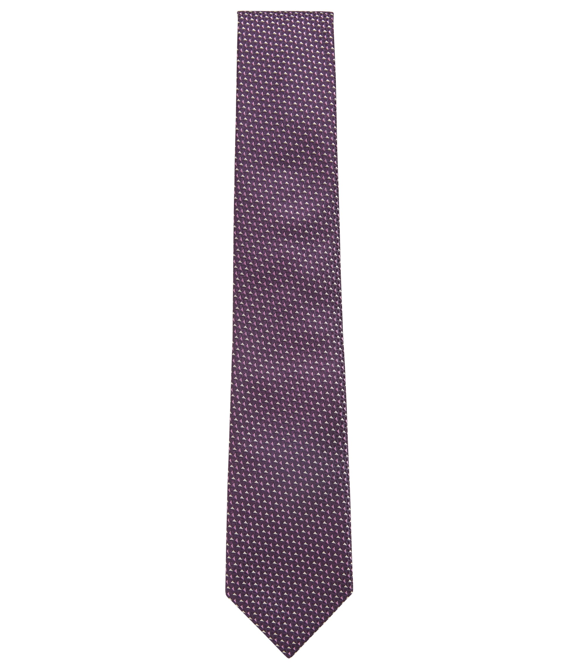 Italian-made patterned tie in silk jacquard, Dark Purple