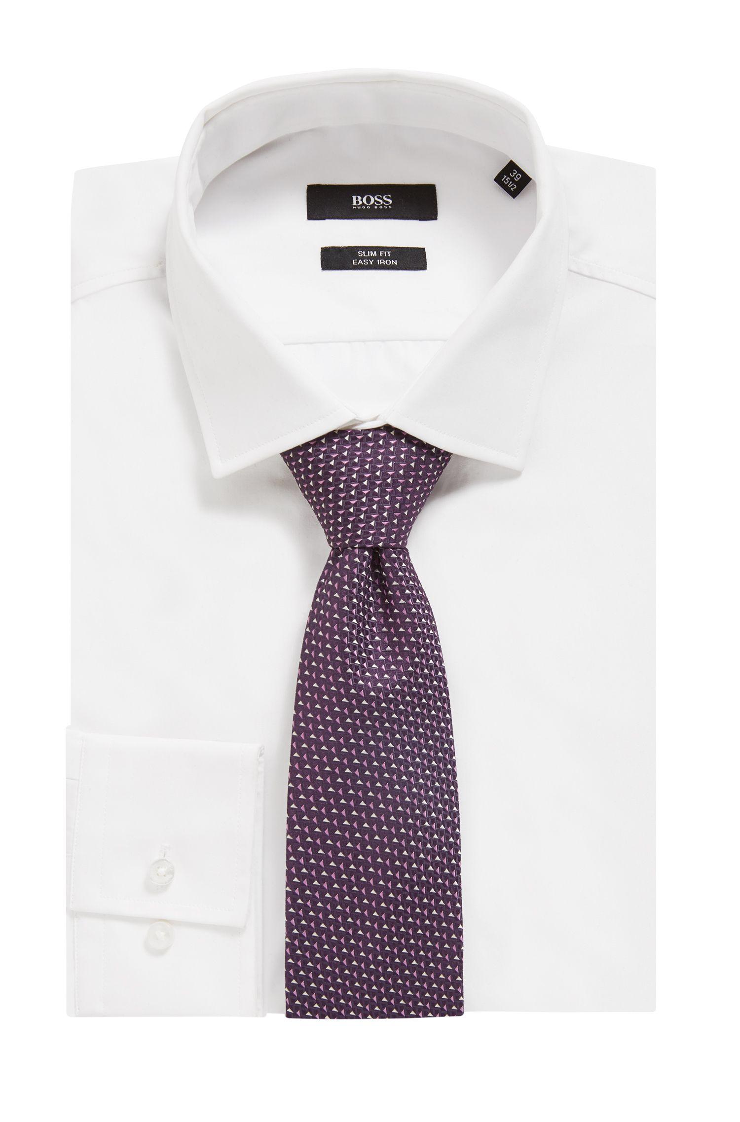 Italian-made patterned tie in silk jacquard, Dark Purple