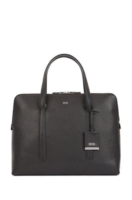Aktentasche im Tote-Stil aus genarbtem italienischem Leder, Schwarz