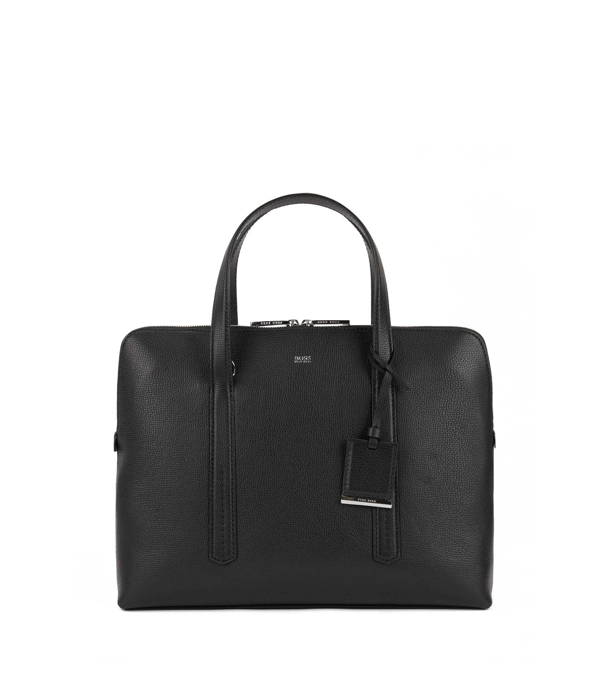 Tote-style briefcase in grainy Italian leather, Black