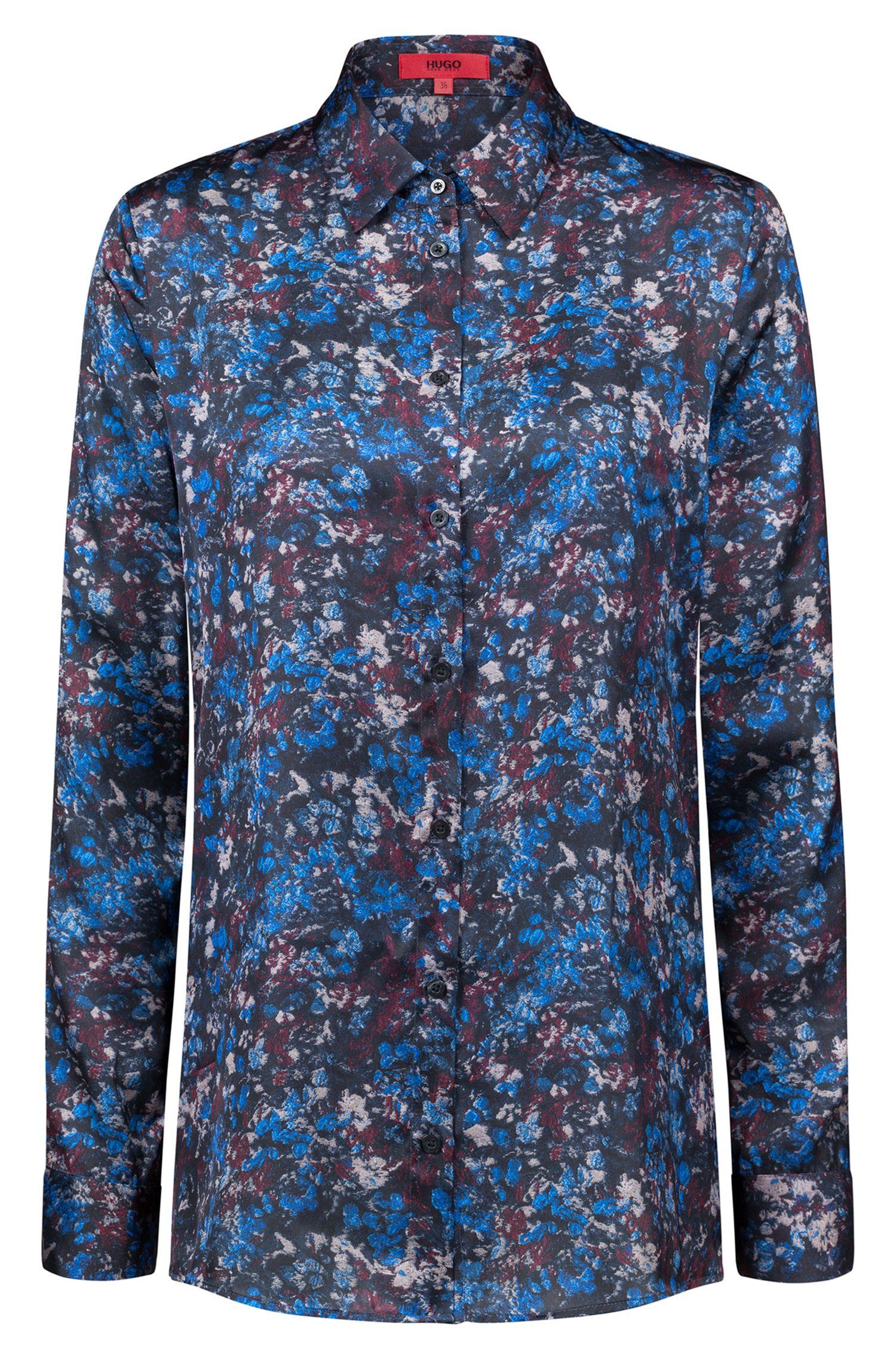 Regular-fit satijnen blouse met gebloemde camouflageprint