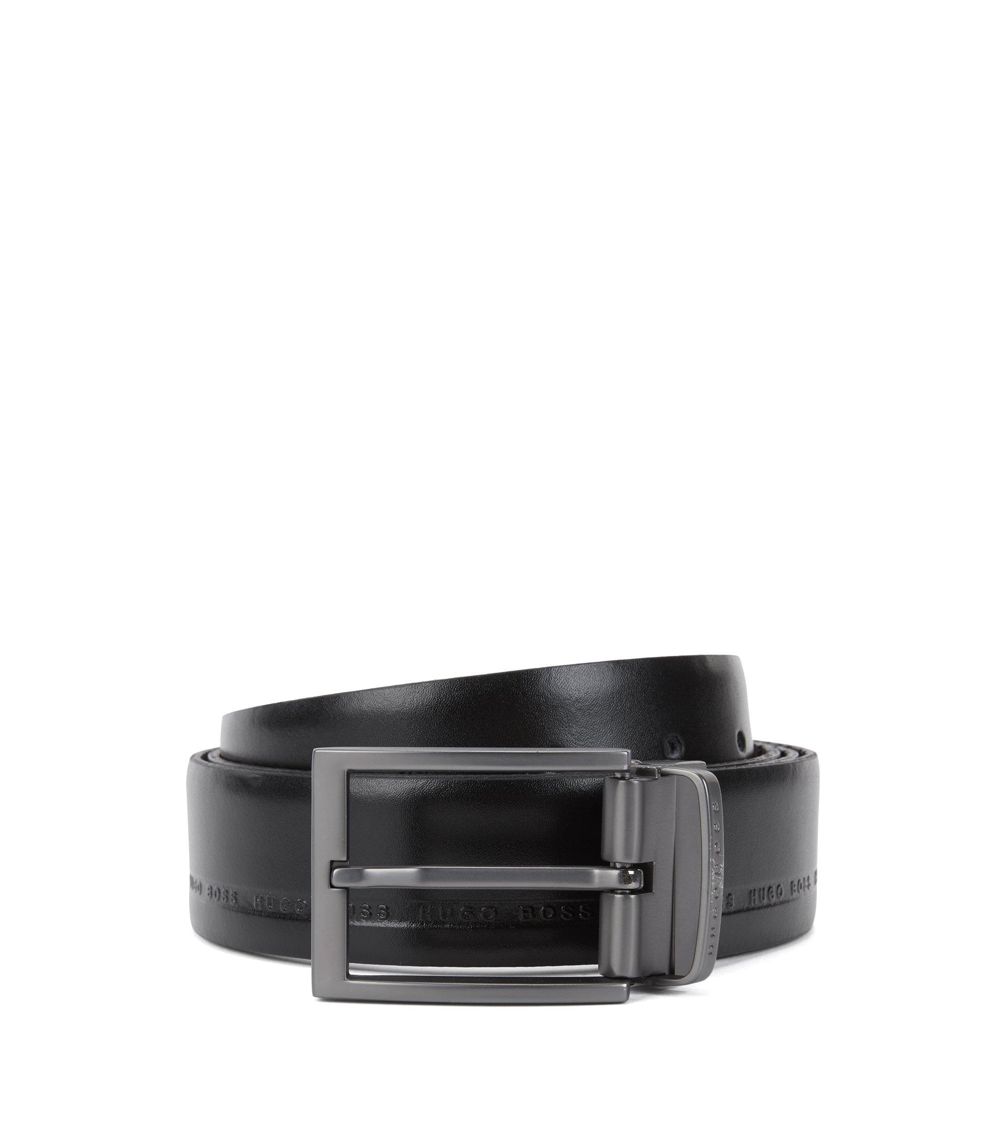 Wendegürtel aus genarbtem Leder mit Logo-Prägung, Schwarz