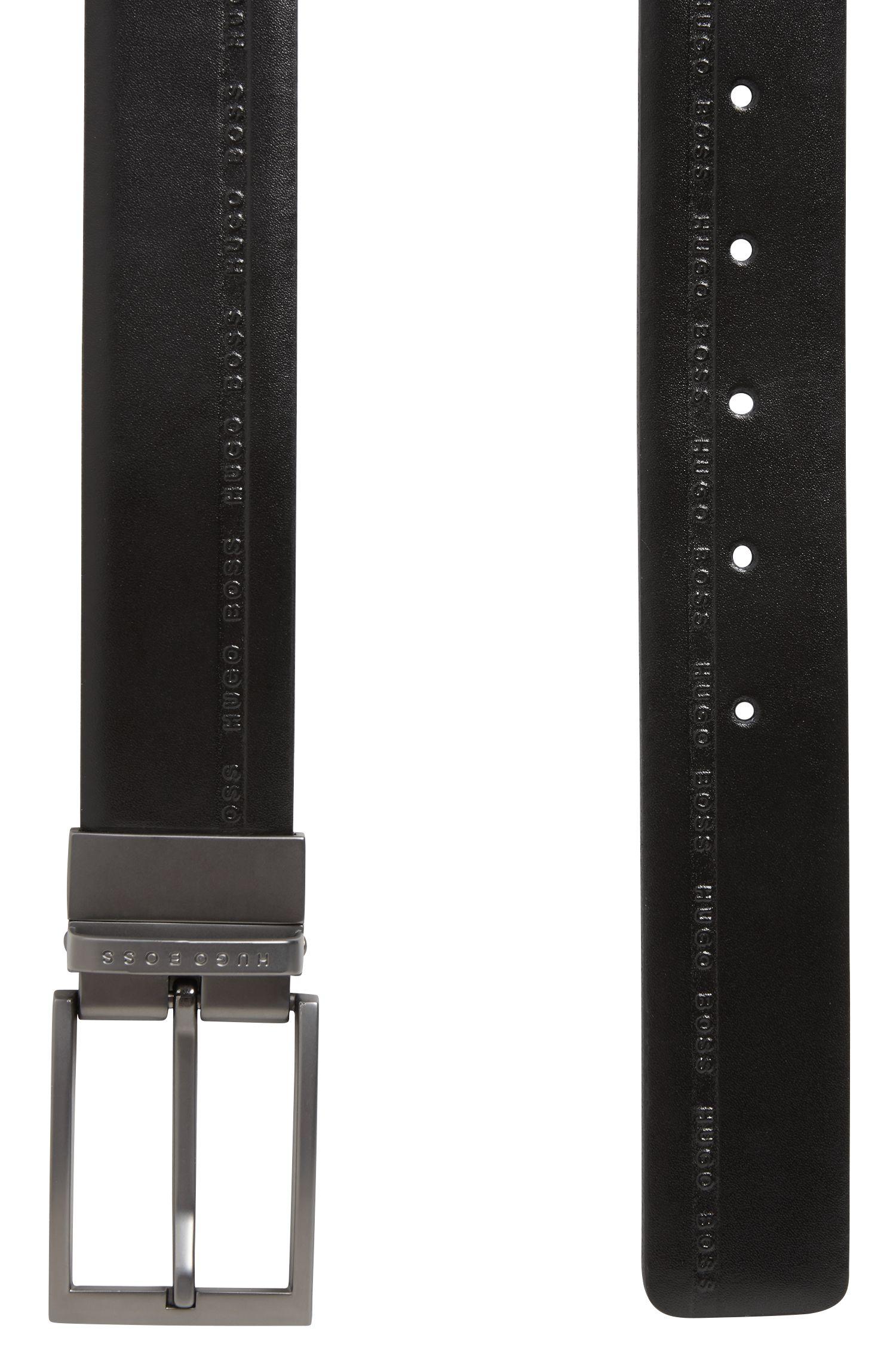 Cinturón reversible en piel granulada con logo grabado, Negro