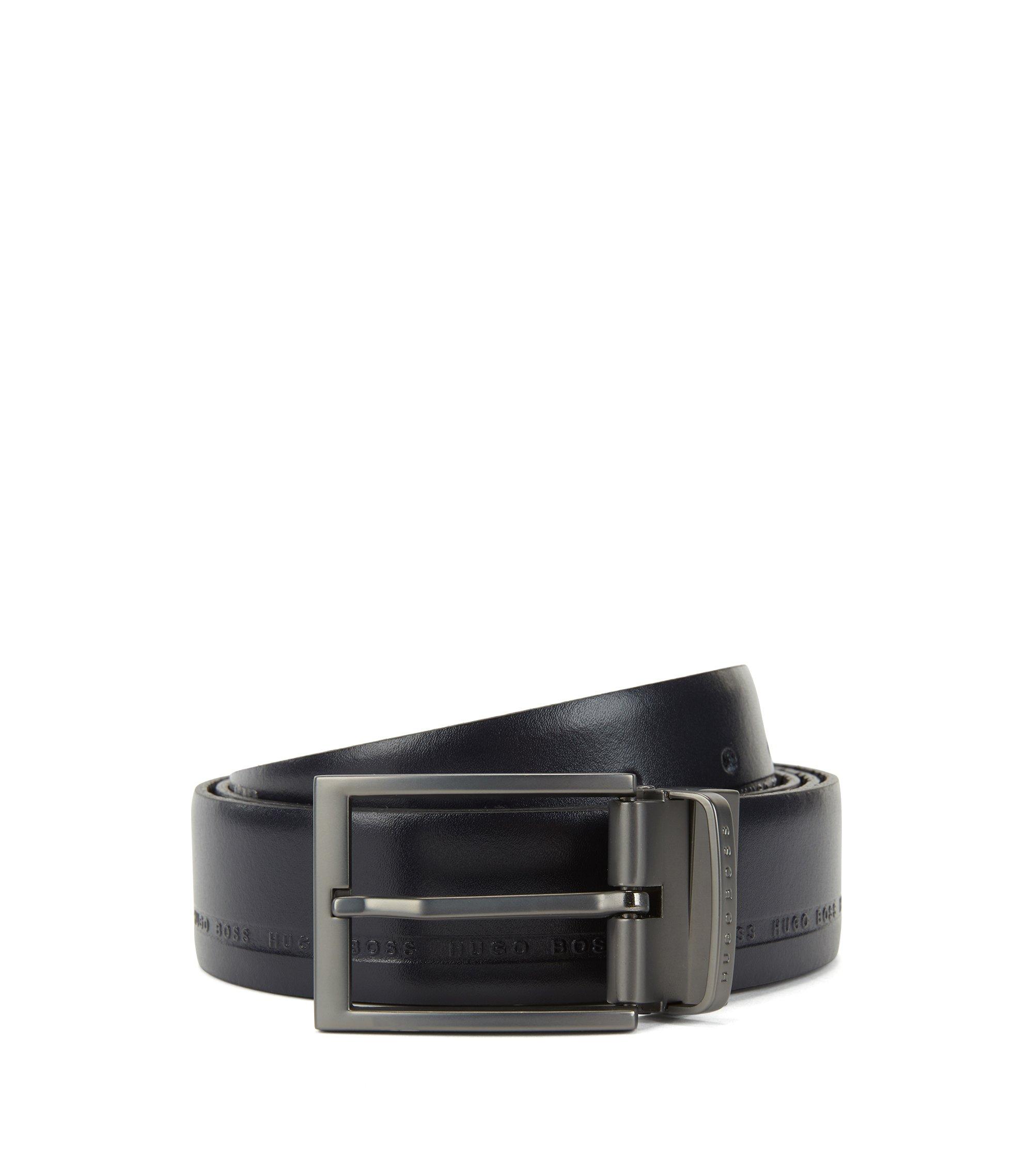 Reversible belt in logo-embossed grainy leather, Dark Blue