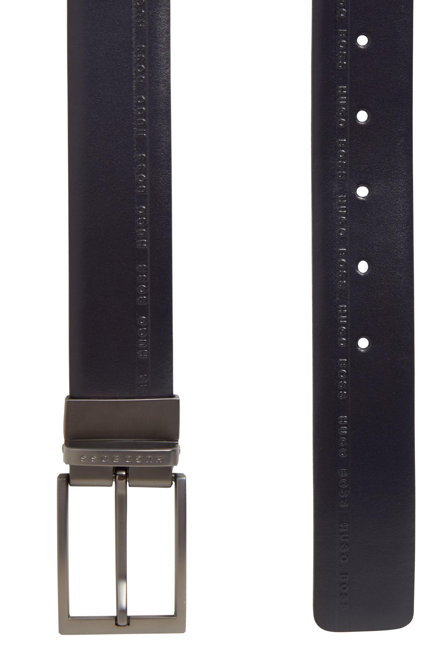 Wendegürtel aus genarbtem Leder mit Logo-Prägung, Dunkelblau