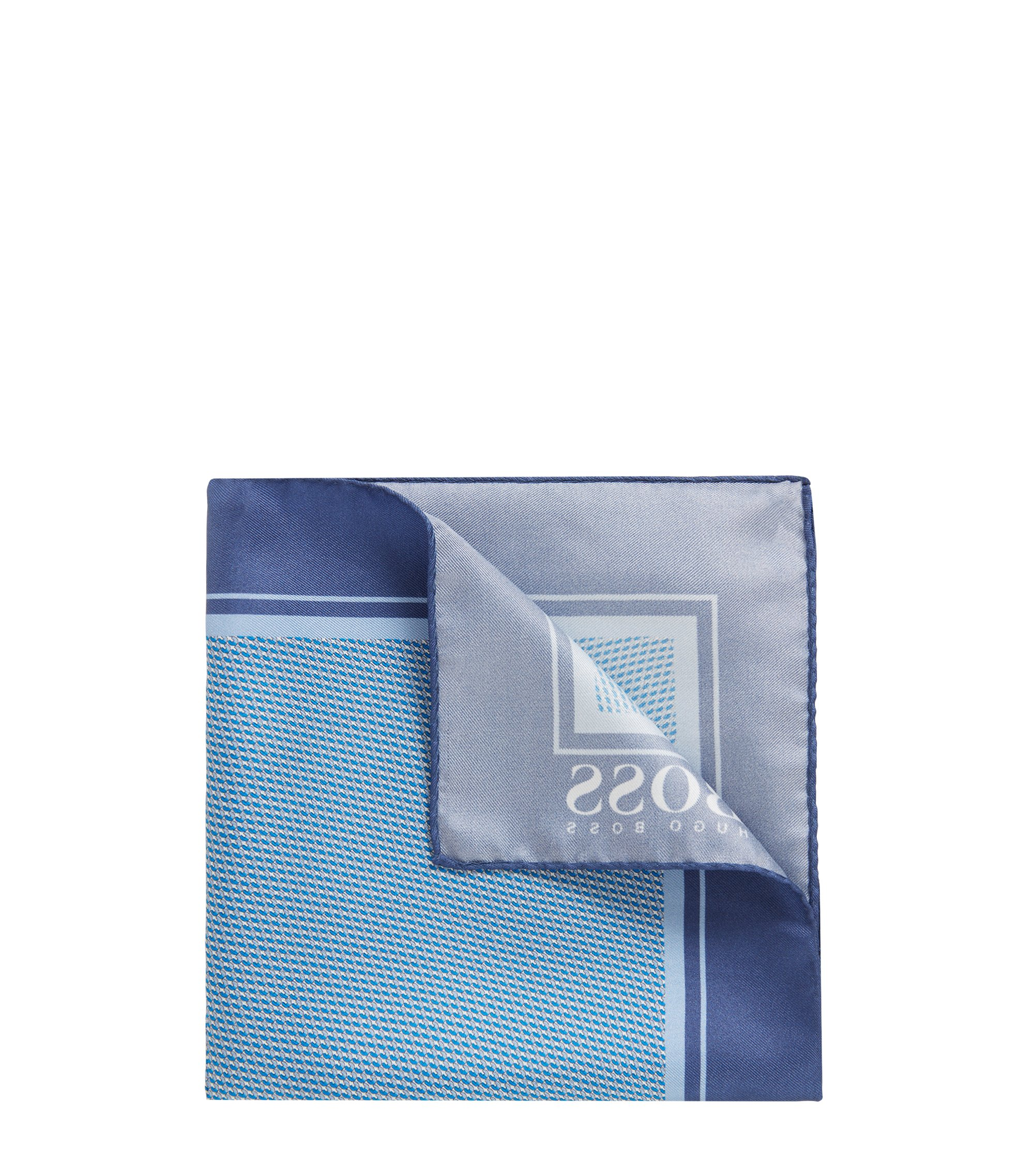 Micro-print pocket square in silk with rolled hem, Blue