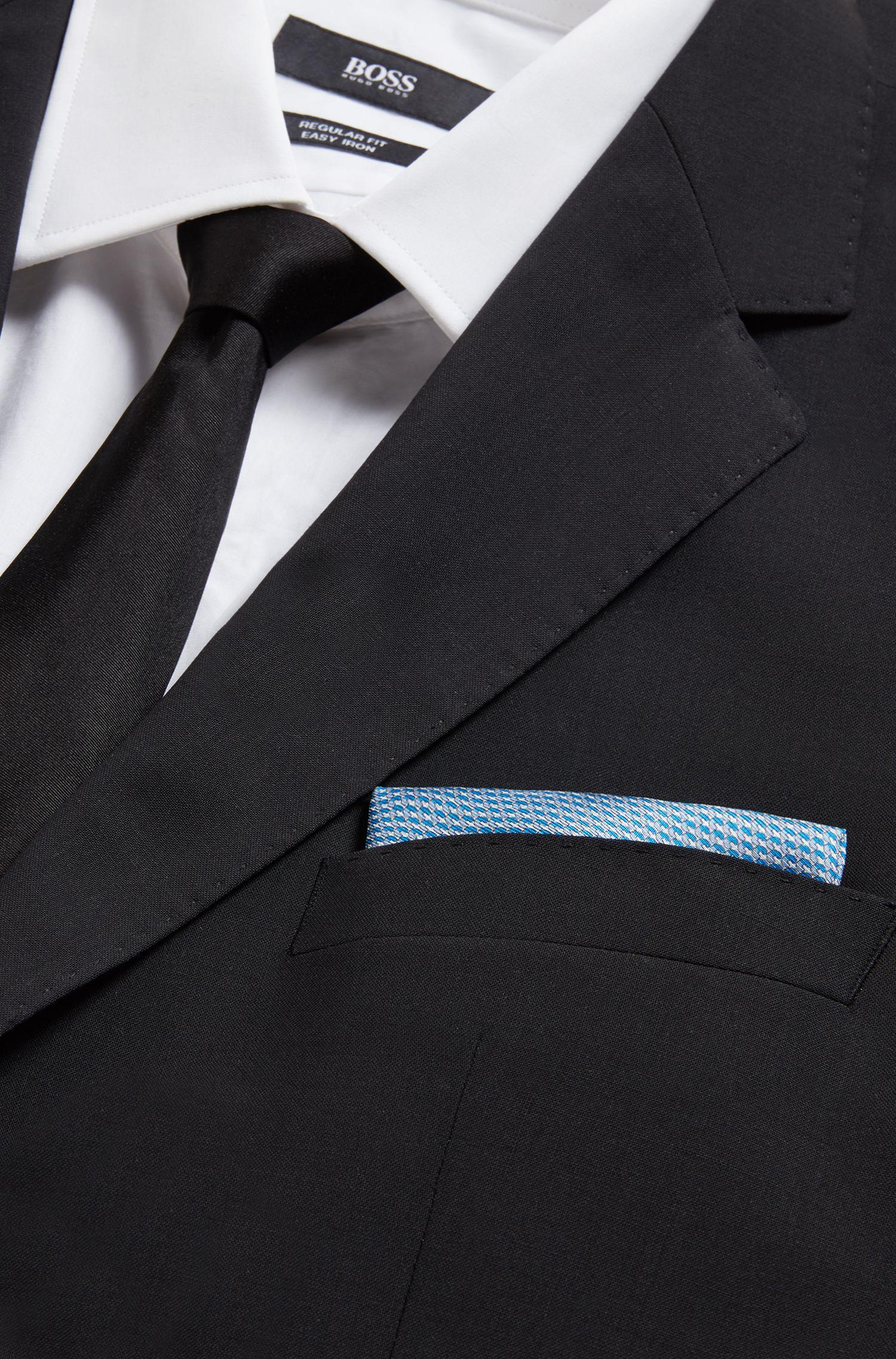 Pochet van zijde met microprint en gerolde zoom, Blauw