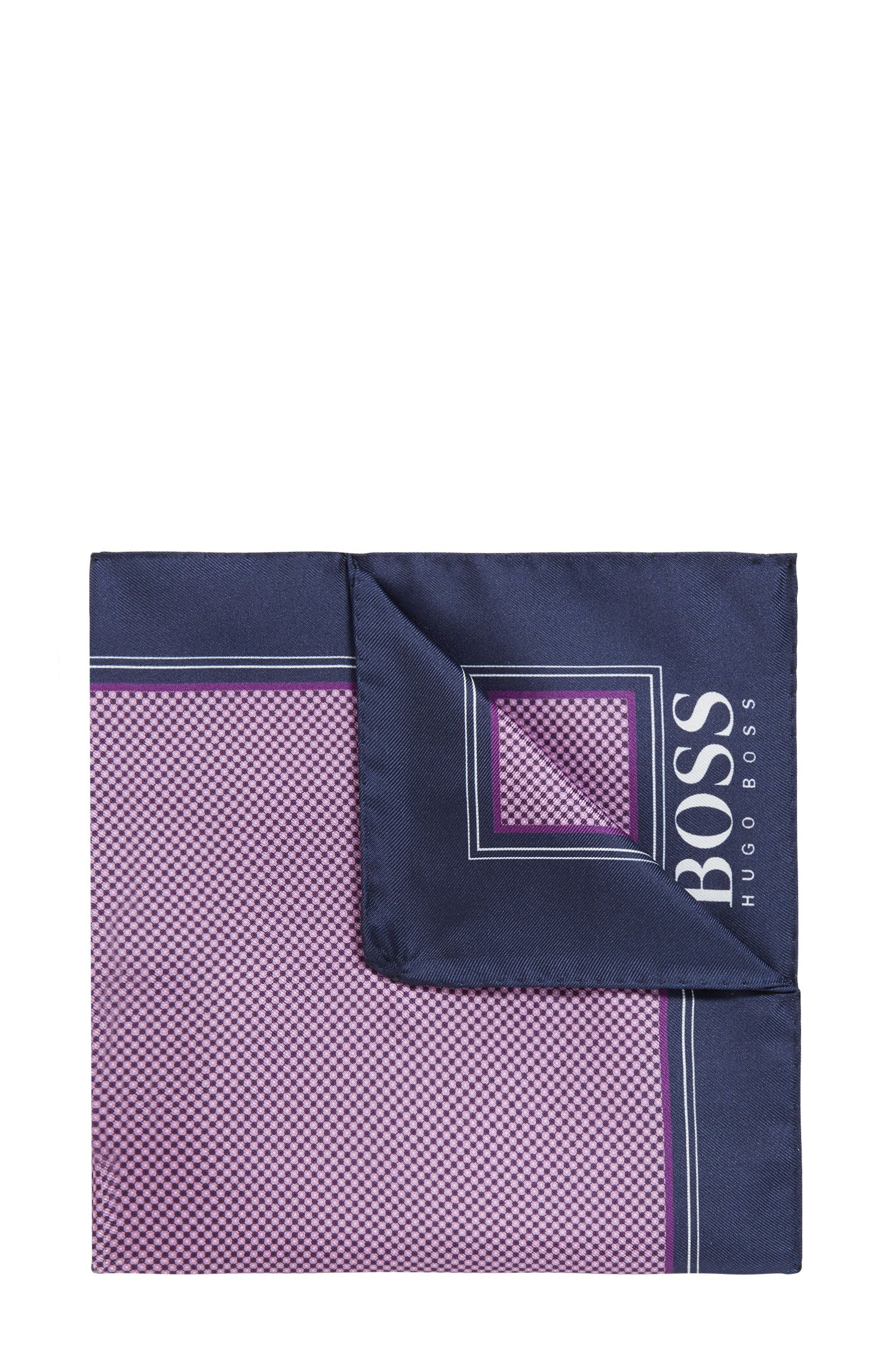Micro-print pocket square in silk with rolled hem, Purple