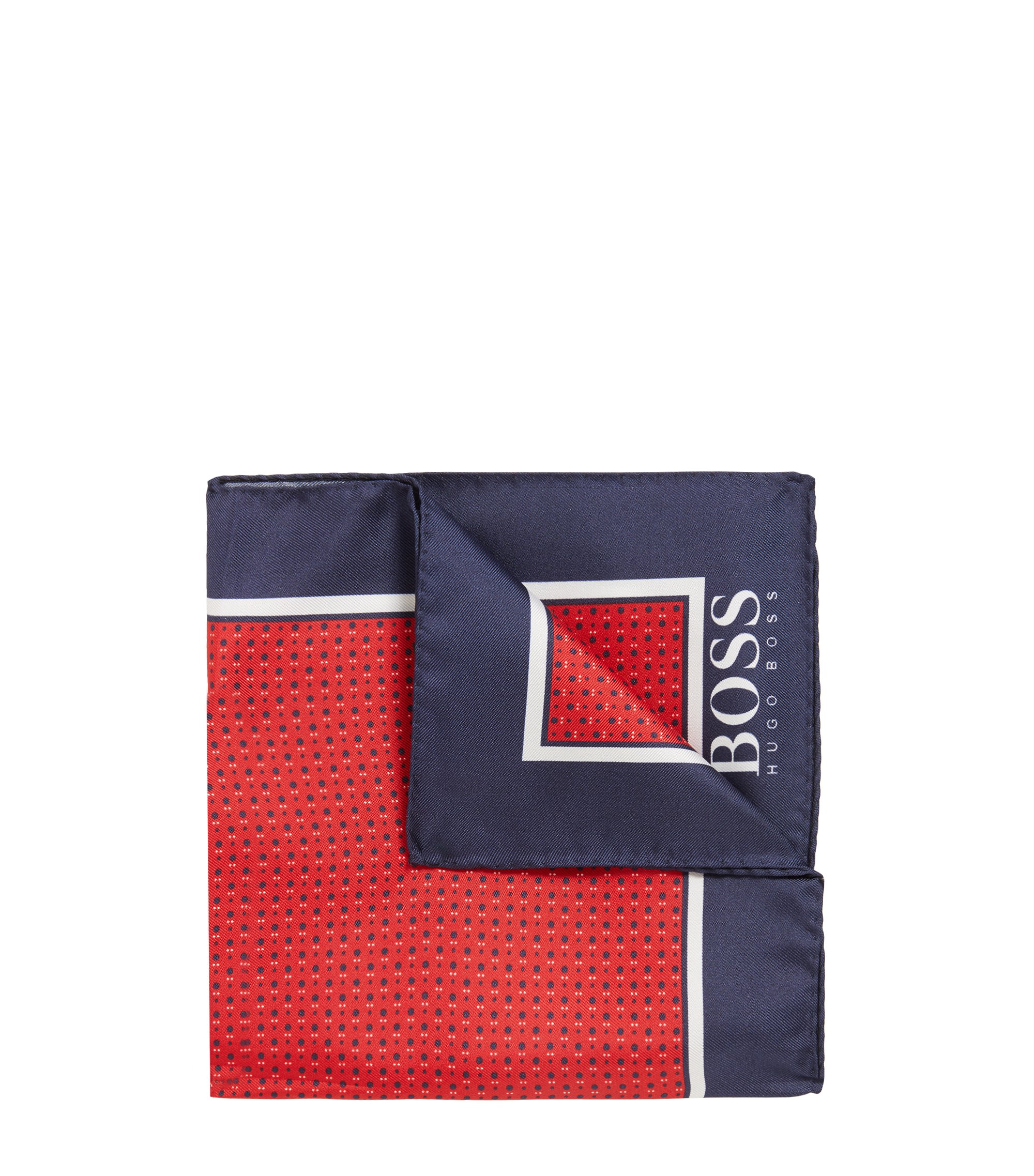 Micro-print pocket square in silk with rolled hem, Red