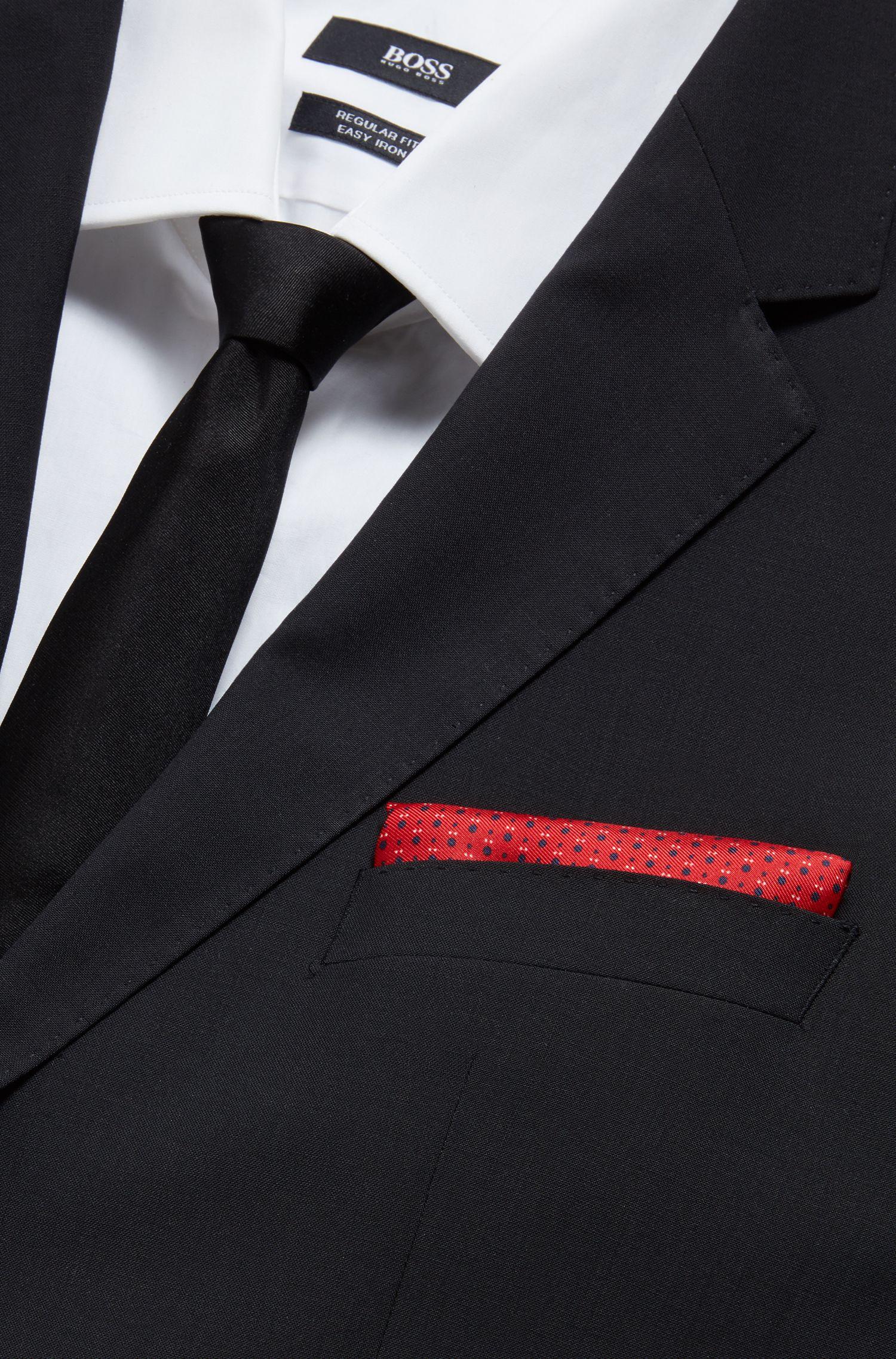 Fein gemustertes Einstecktuch aus Seide mit gerollten Kanten, Rot