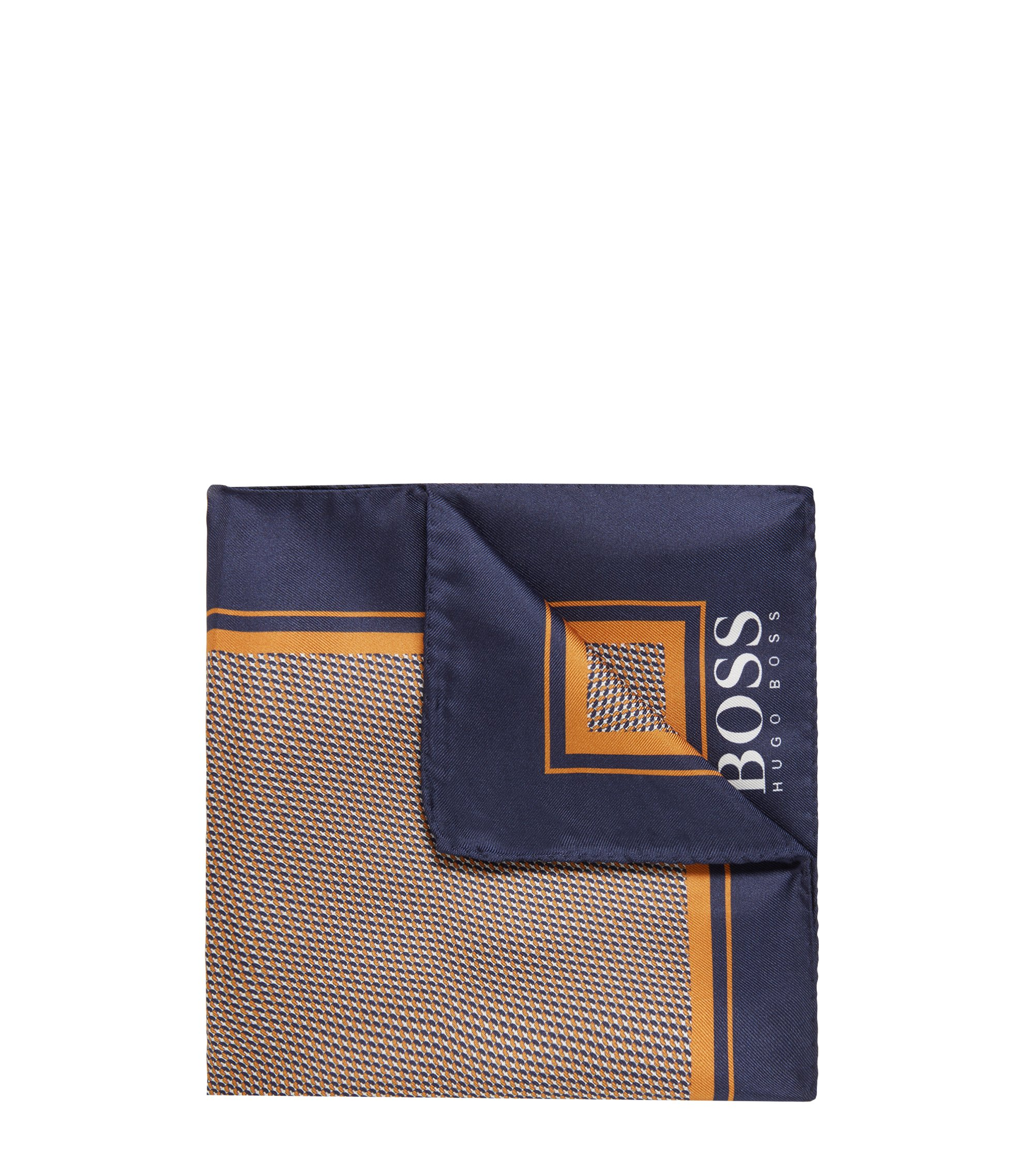 Micro-print pocket square in silk with rolled hem, Light Orange
