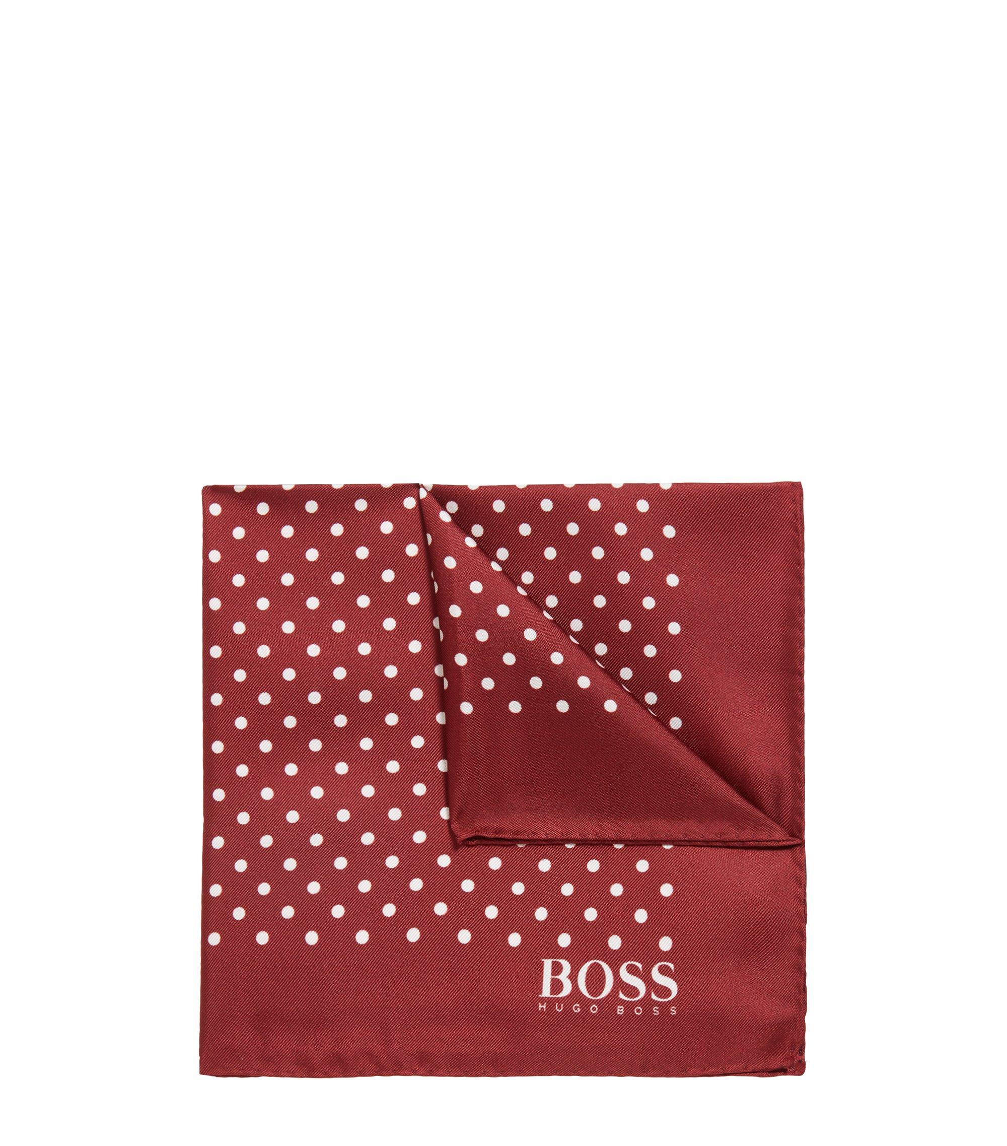 Pañuelo de bolsillo de seda con estampado de lunares y dobladillo enrollado, Rojo oscuro