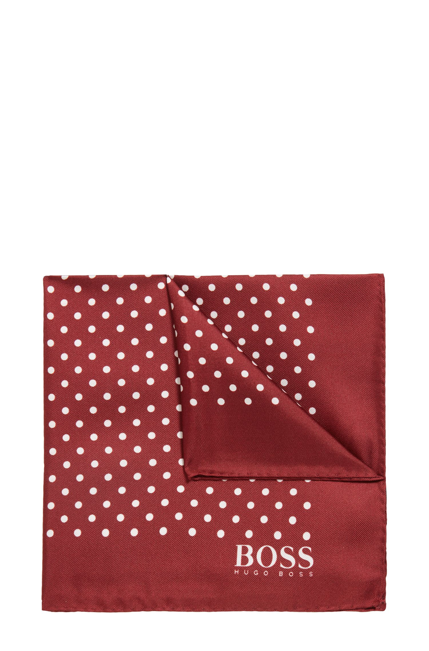 Dot-print pocket square in silk with rolled hem, Dark Red