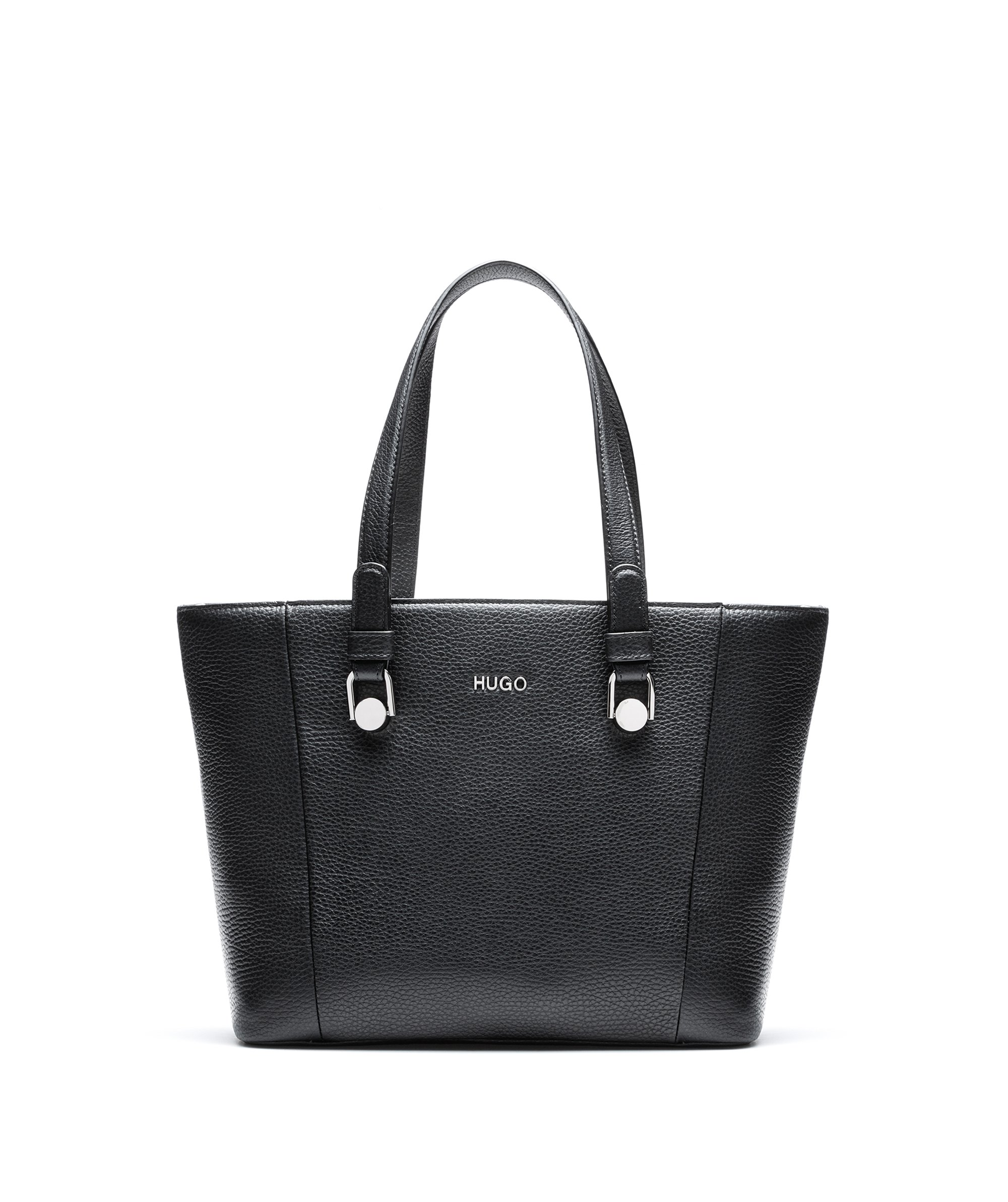 Zip-close shopper bag in tumbled Italian leather, Black