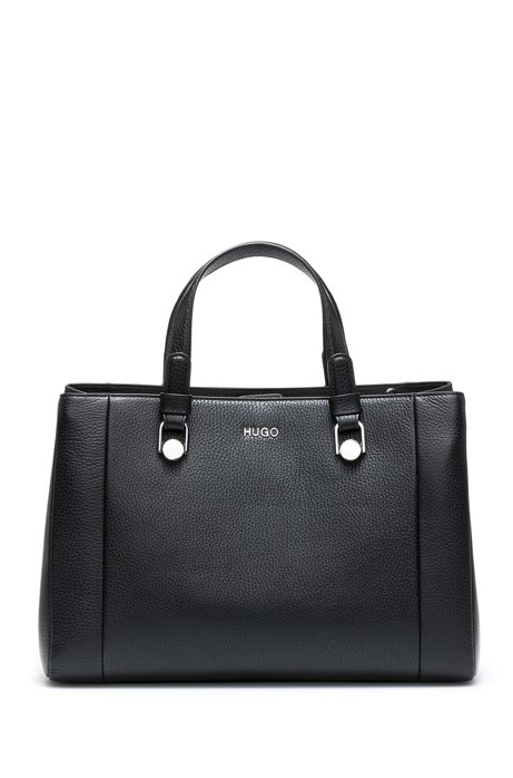 Tote Handbag In Grained Italian Leather Black