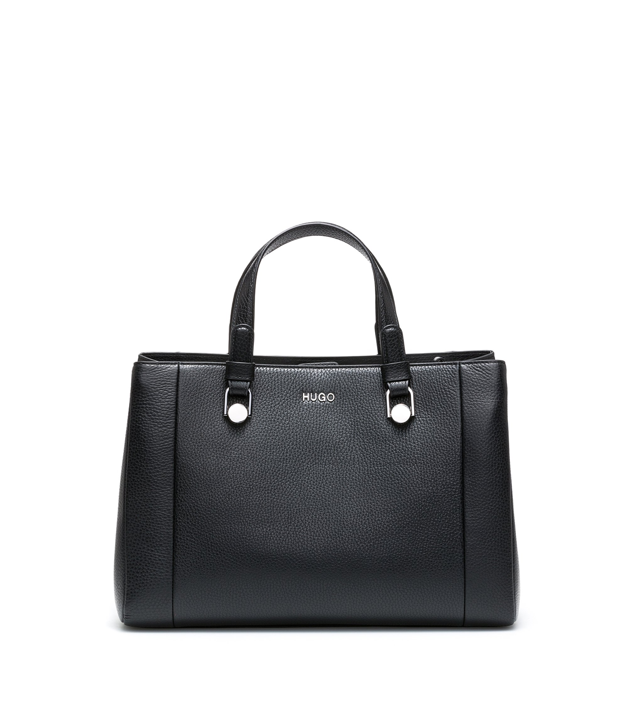 Tote handbag in grained Italian leather, Black