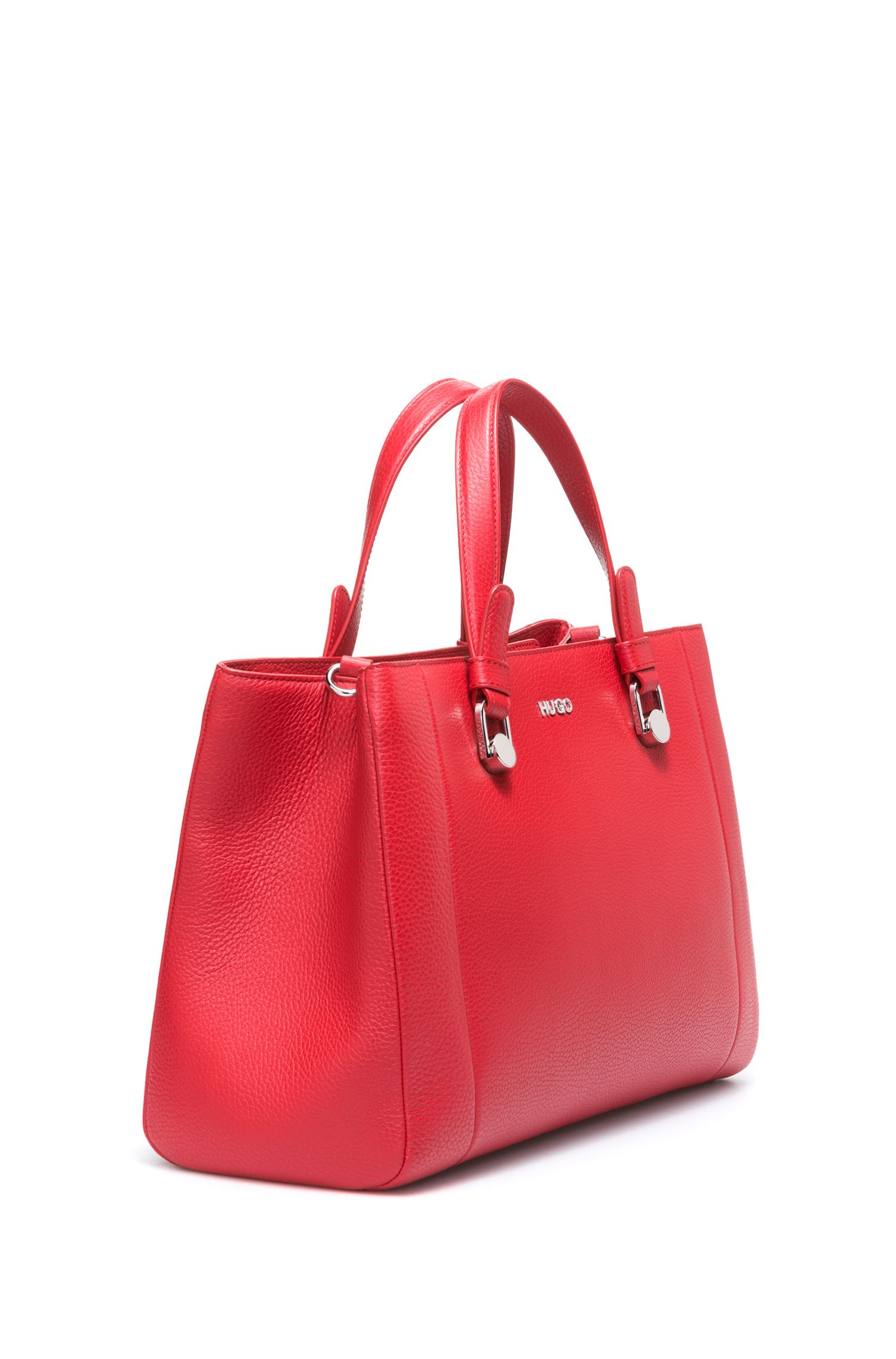 Tote handbag in grained Italian leather, Red