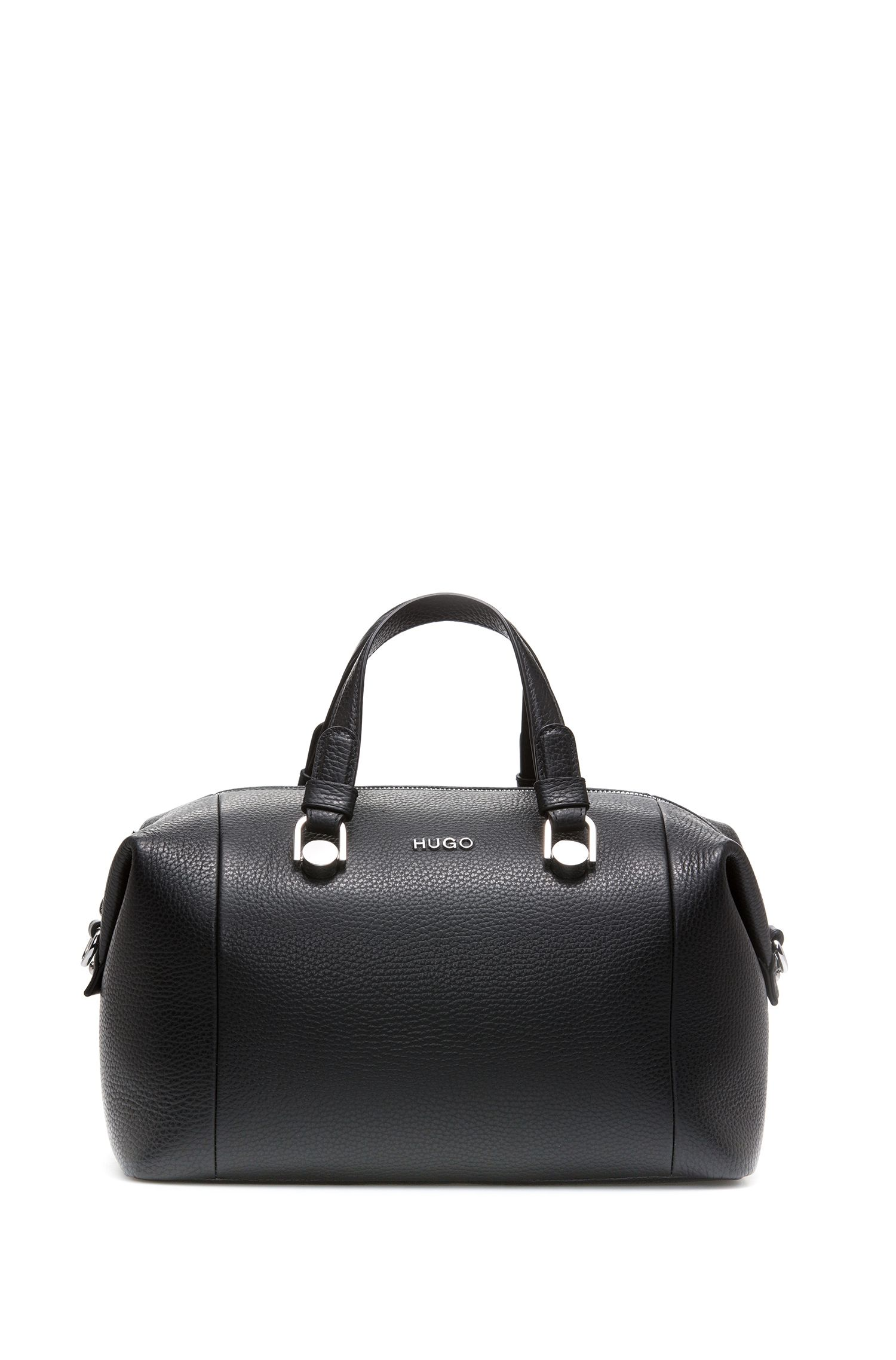 Bowling bag in grained Italian leather, Black