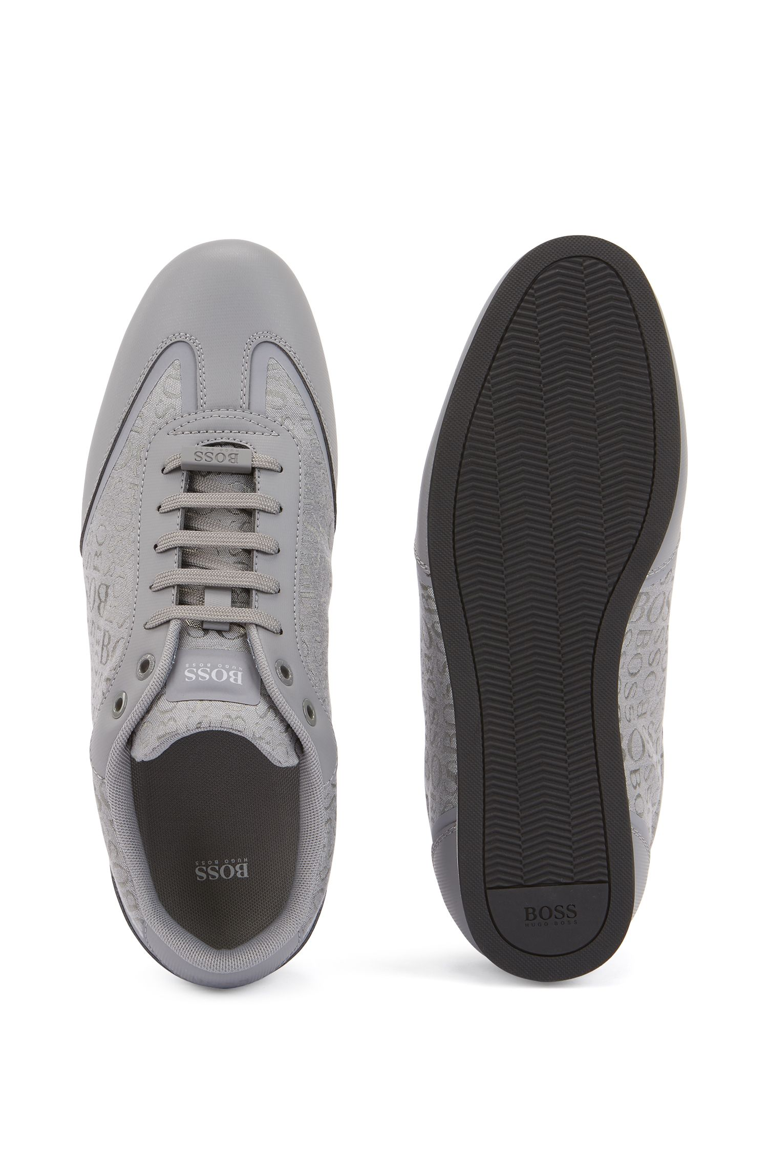 Sneakers aus Gummi und Logo-Jacquard, Grau