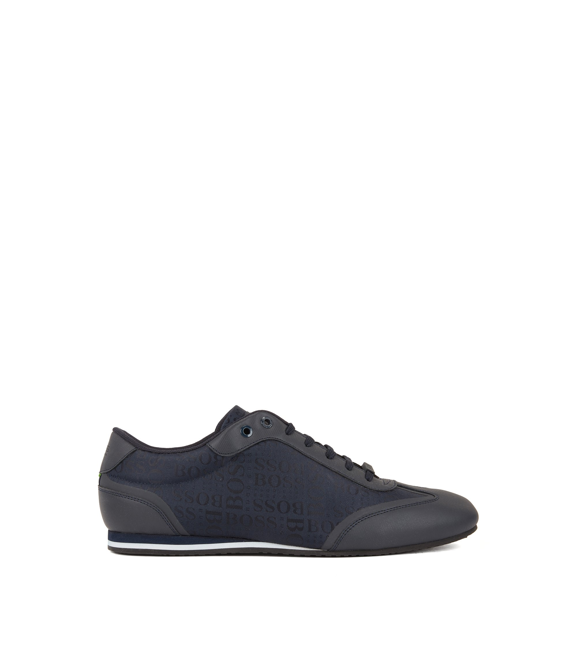 Low-profile trainers with logo-jacquard and rubberised uppers, Dark Blue