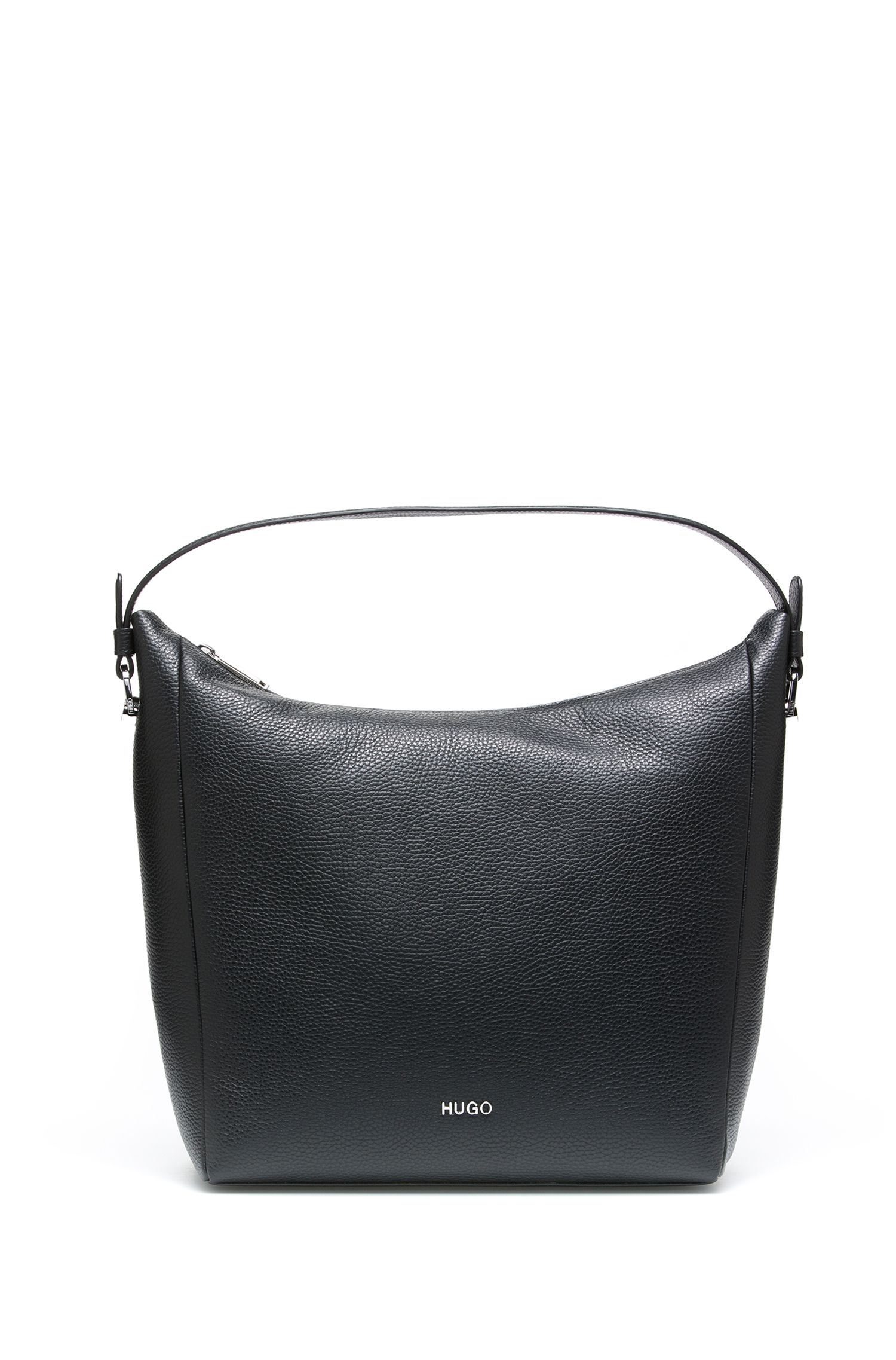 Hobo bag in grained Italian leather, Black