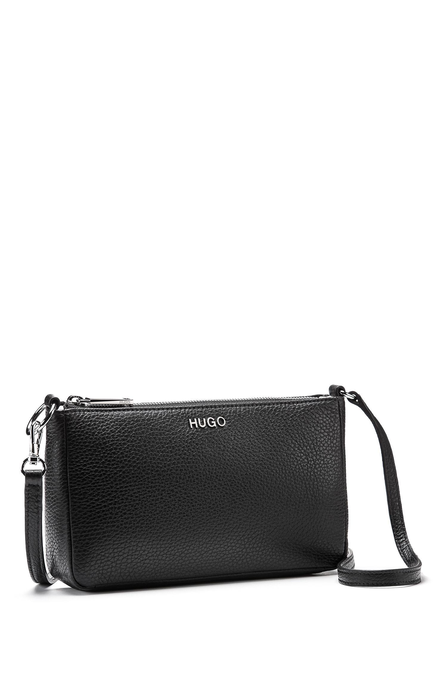 Mini bag in tumbled Italian leather, Black