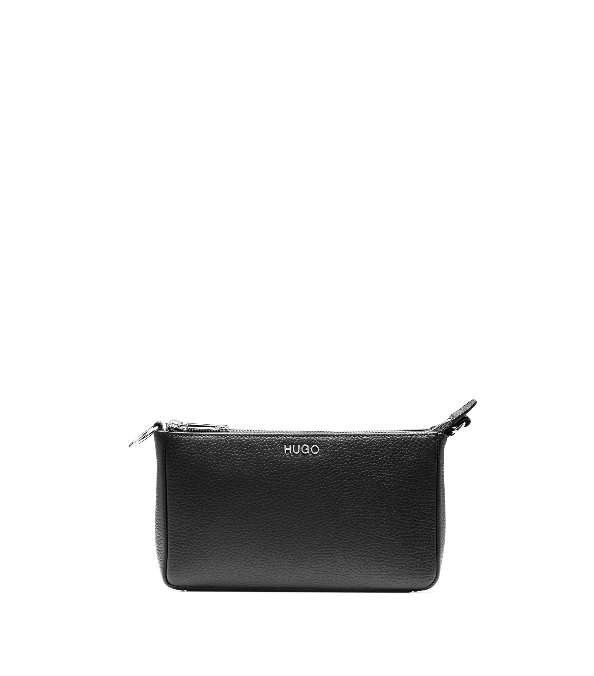 Mini bag in tumbled Italian leather, Black