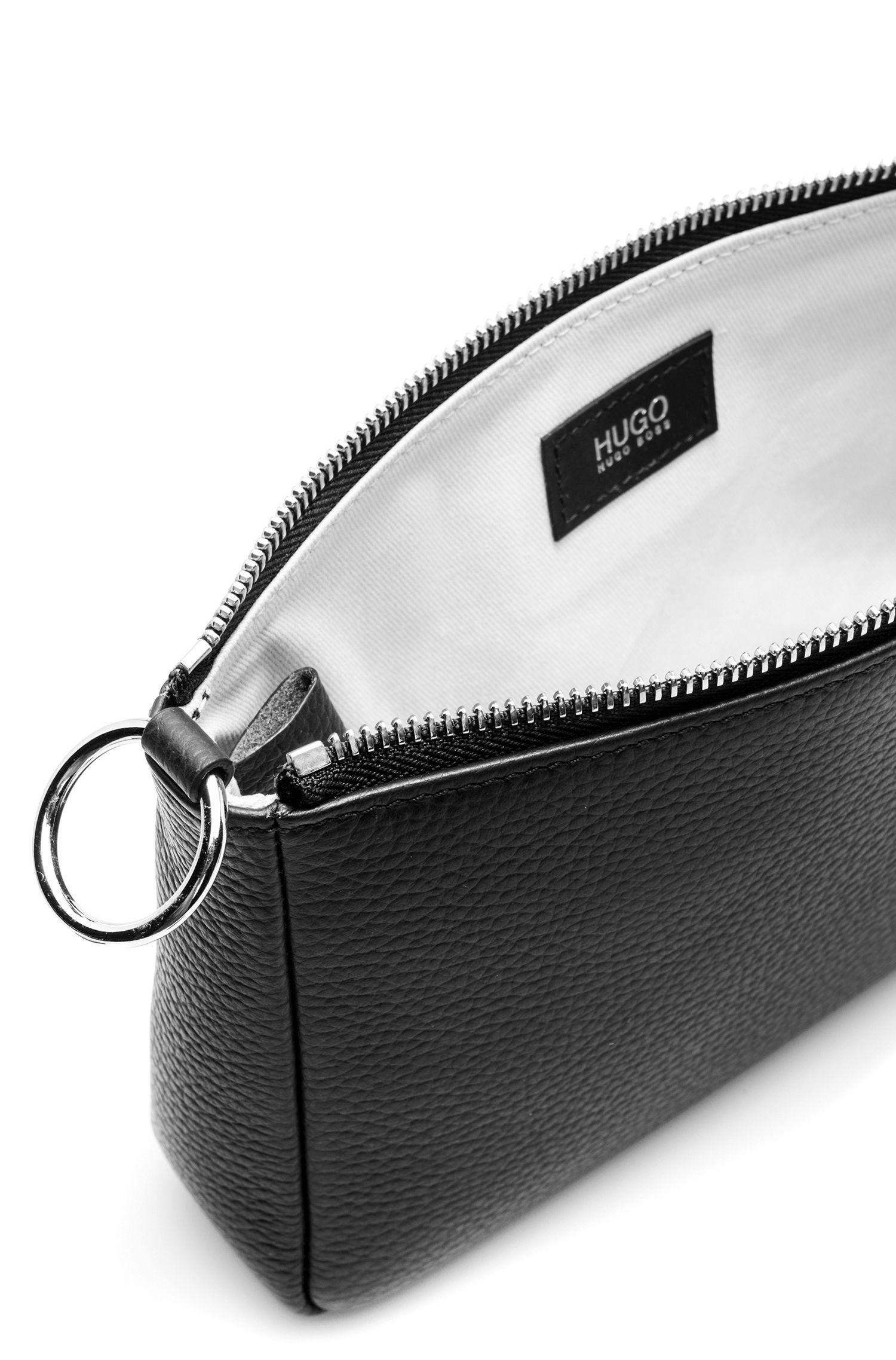 Mini sac en cuir italien foulonné, Noir