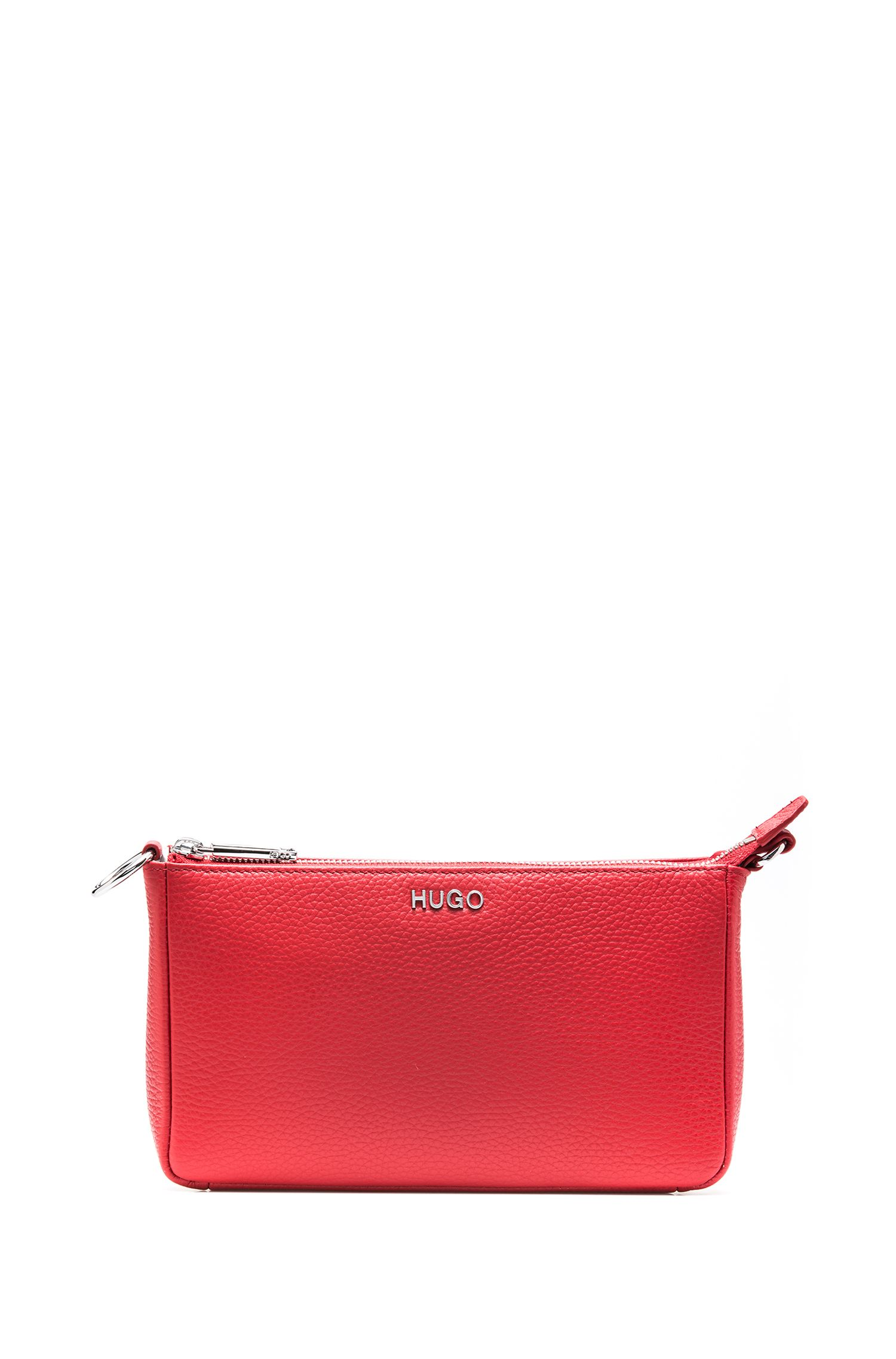 Mini bag in tumbled Italian leather, Red