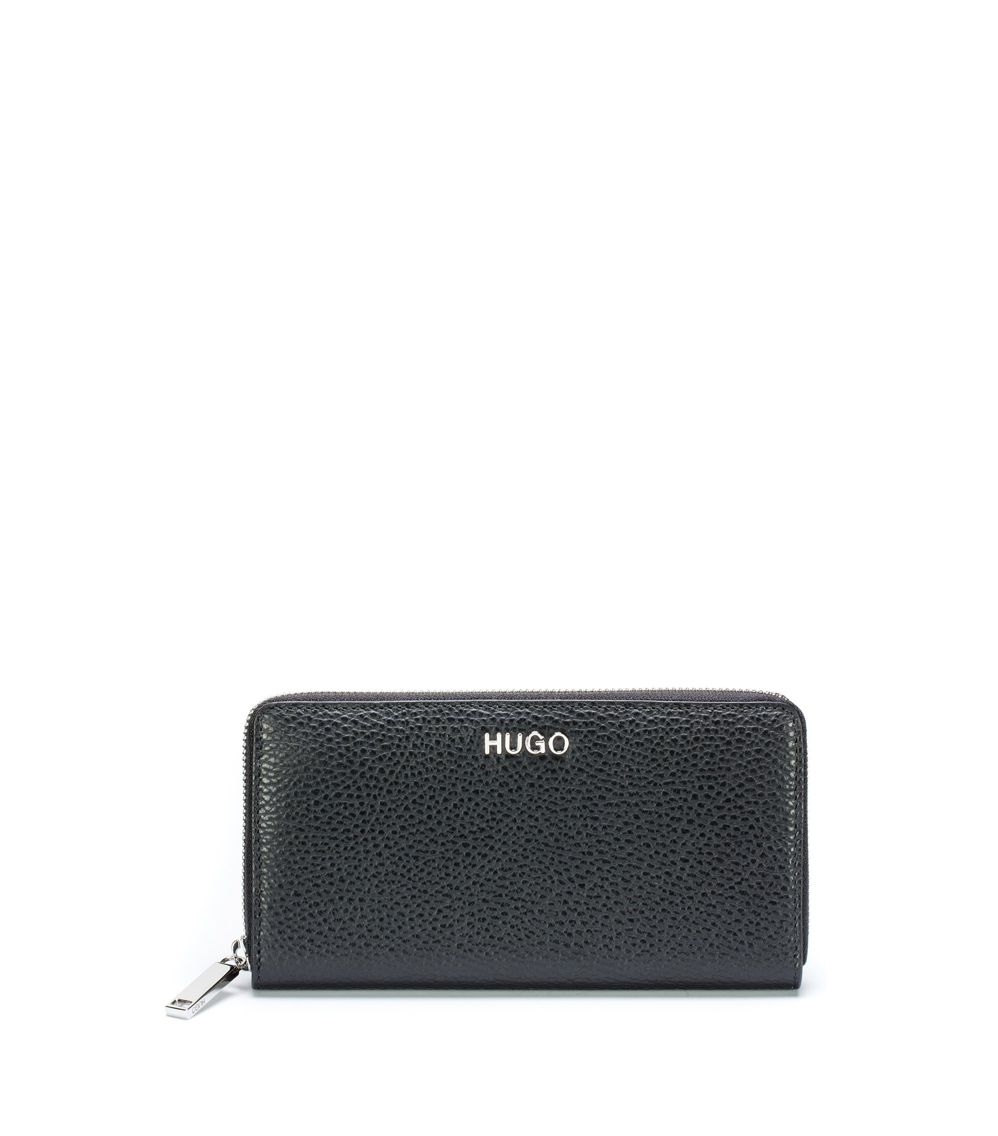 Zip-around wallet in Italian tumbled leather, Black
