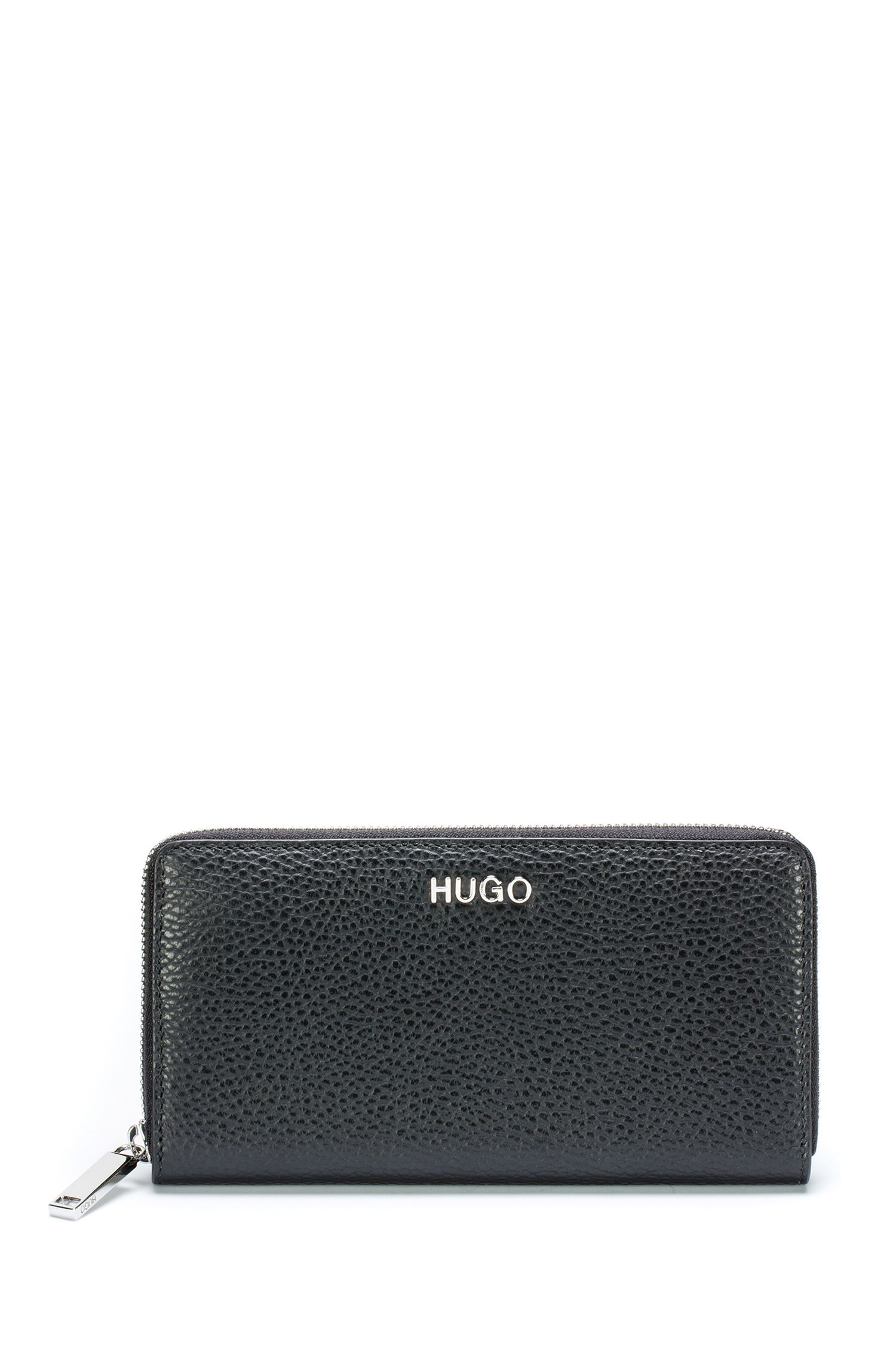 Zip-around wallet in tumbled Italian leather, Black