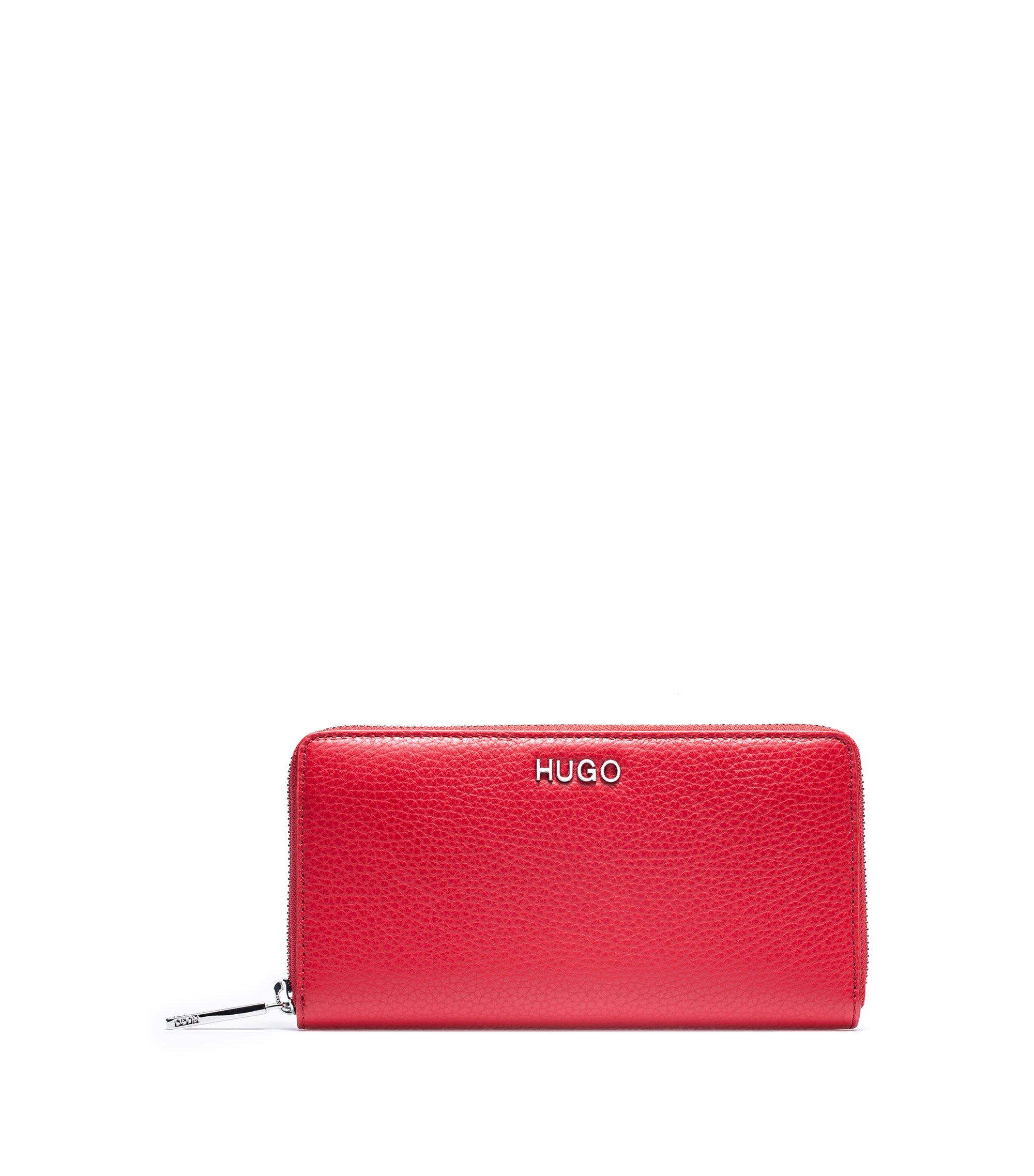 Zip-around wallet in Italian tumbled leather, Red