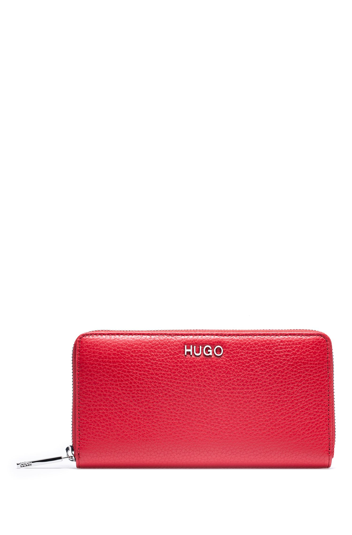 Zip-around wallet in tumbled Italian leather, Red