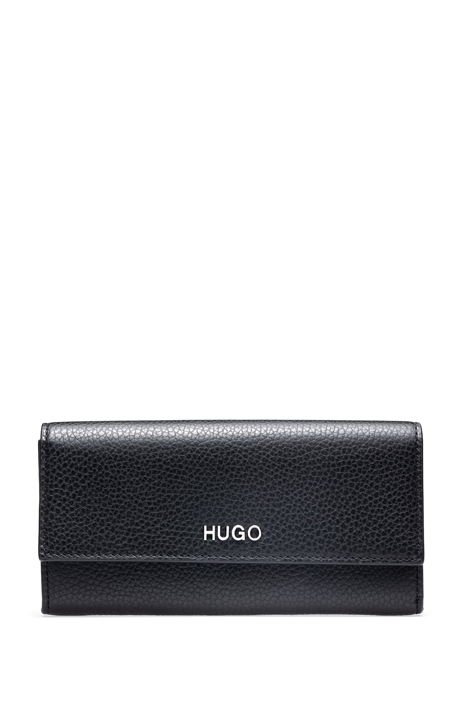 Compact wallet in grainy Italian leather with metallic lettering, Black