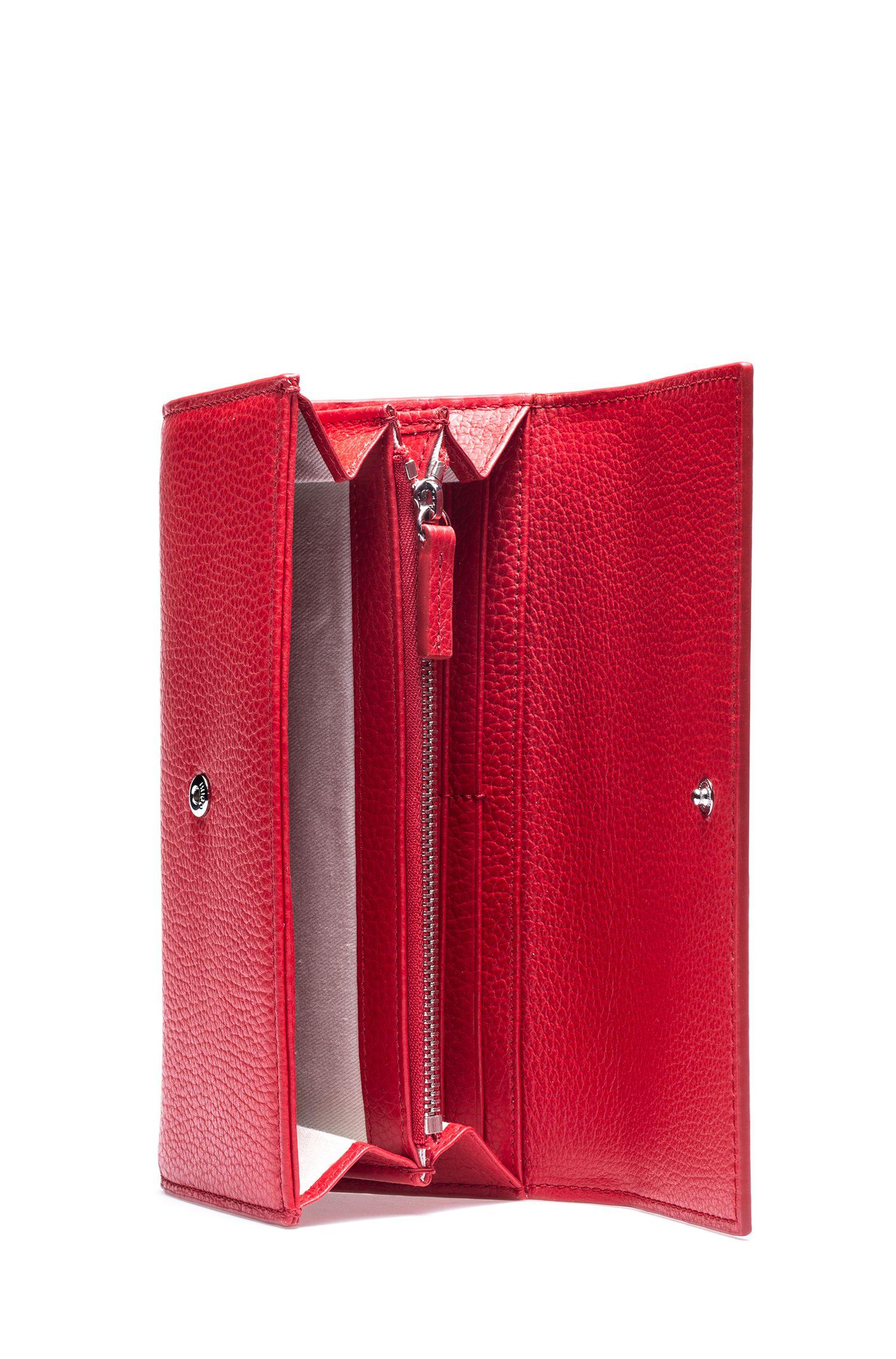 Monedero compacto en piel italiana con grano y detalle de letras metalizadas, Rojo