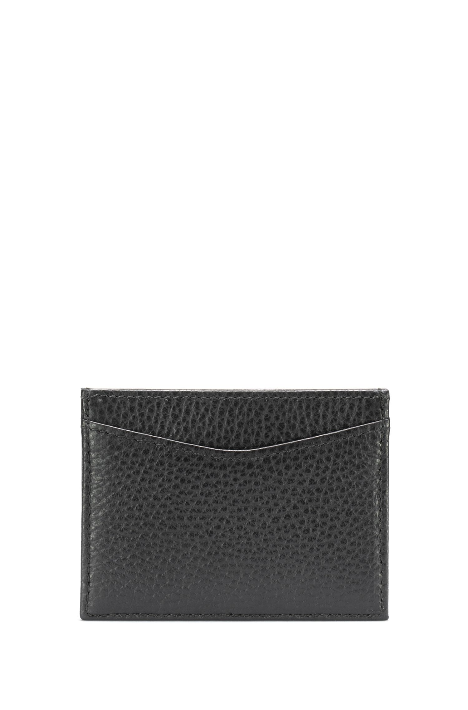 Card holder in grained Italian leather, Black