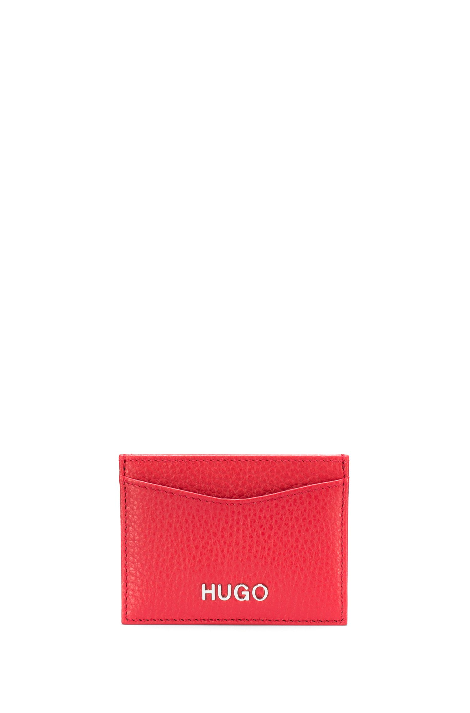 Card holder in grained Italian leather, Red