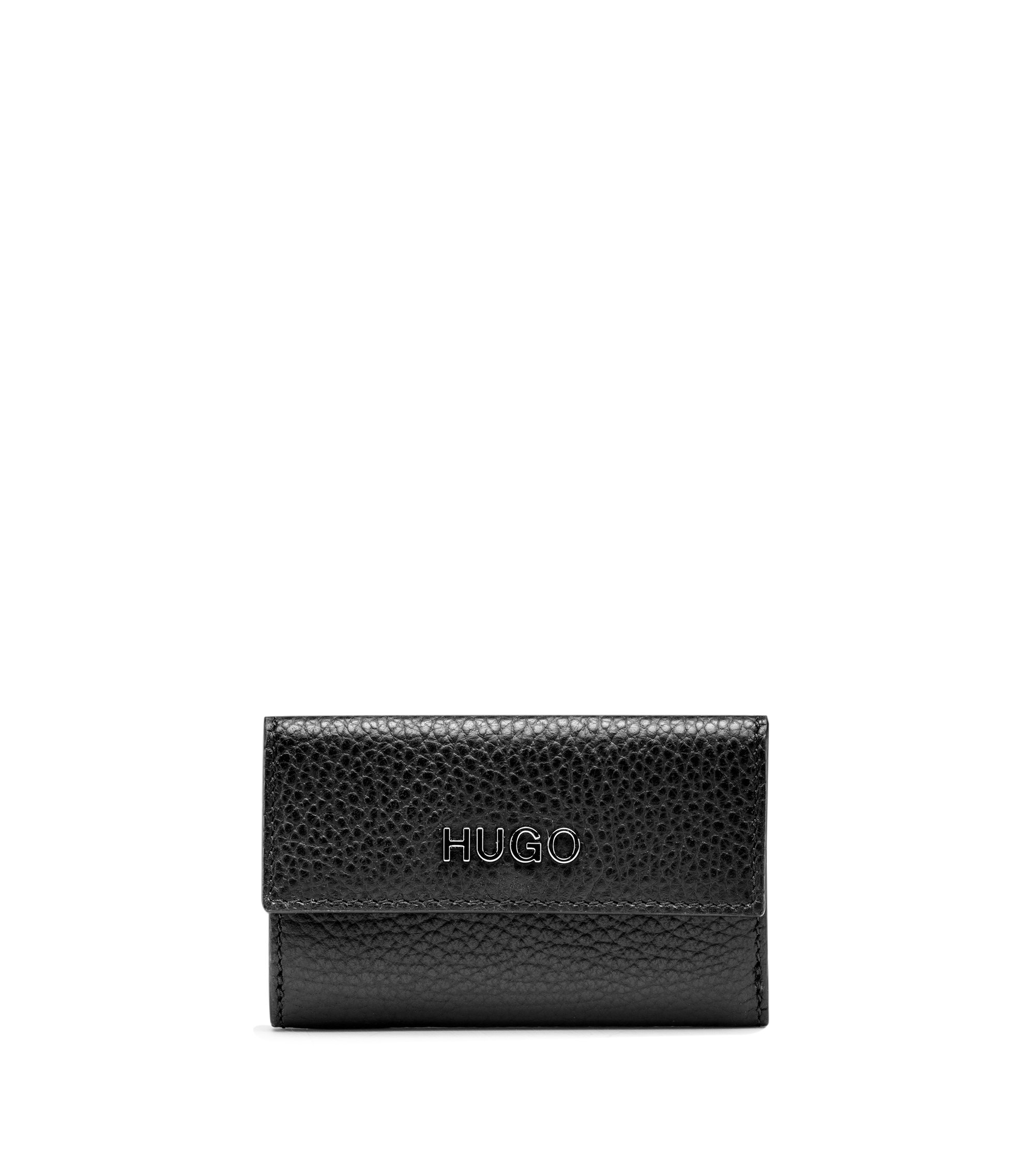 French wallet in grained leather with logo, Black