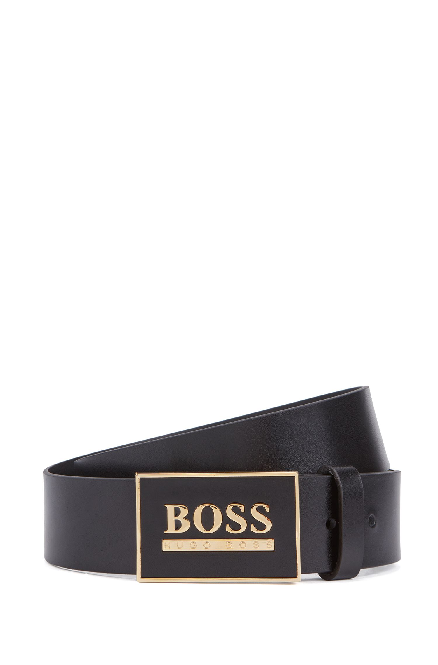 Smooth-leather belt with statement plaque closure, Black